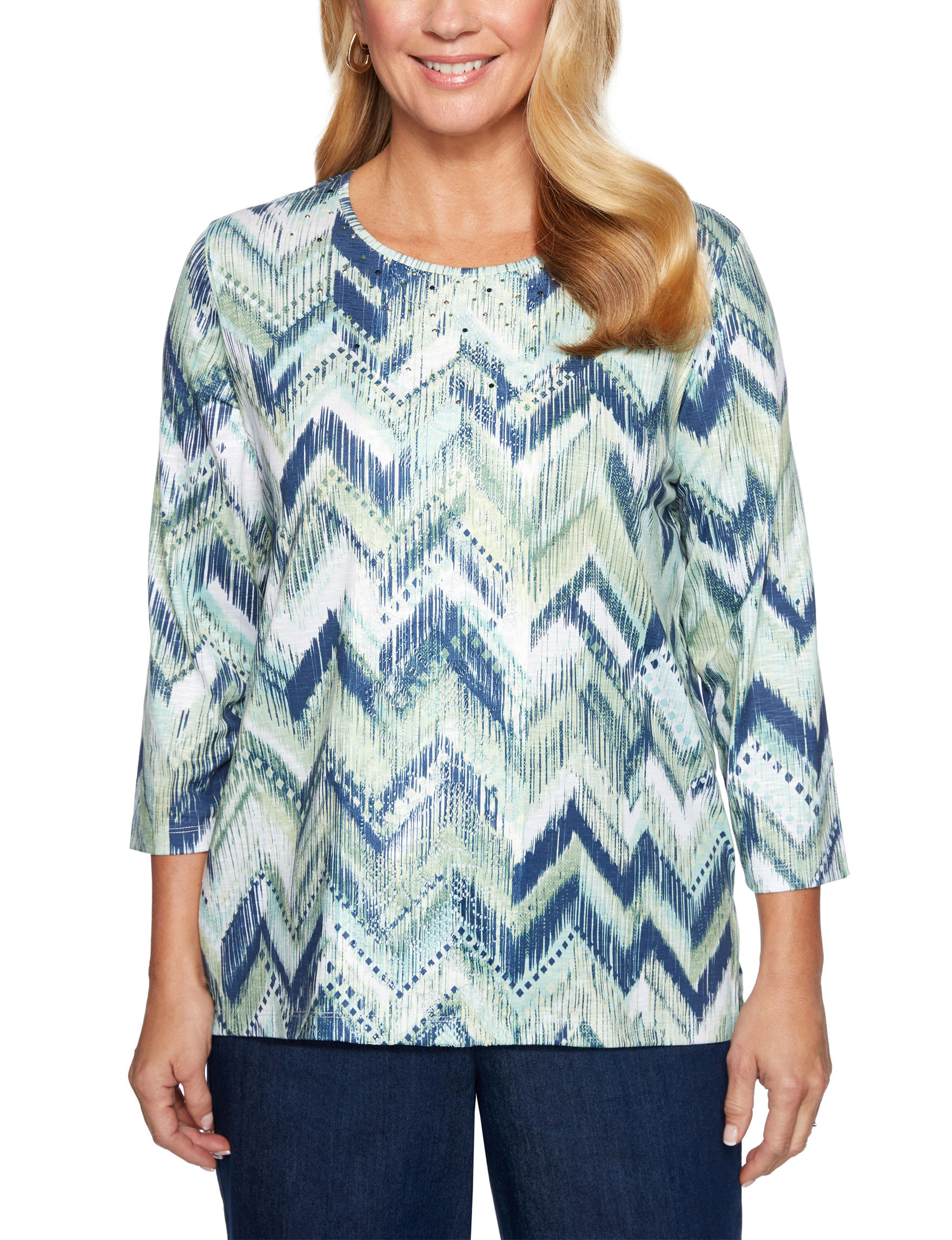 Alfred Dunner White Multi Shirts & Blouses