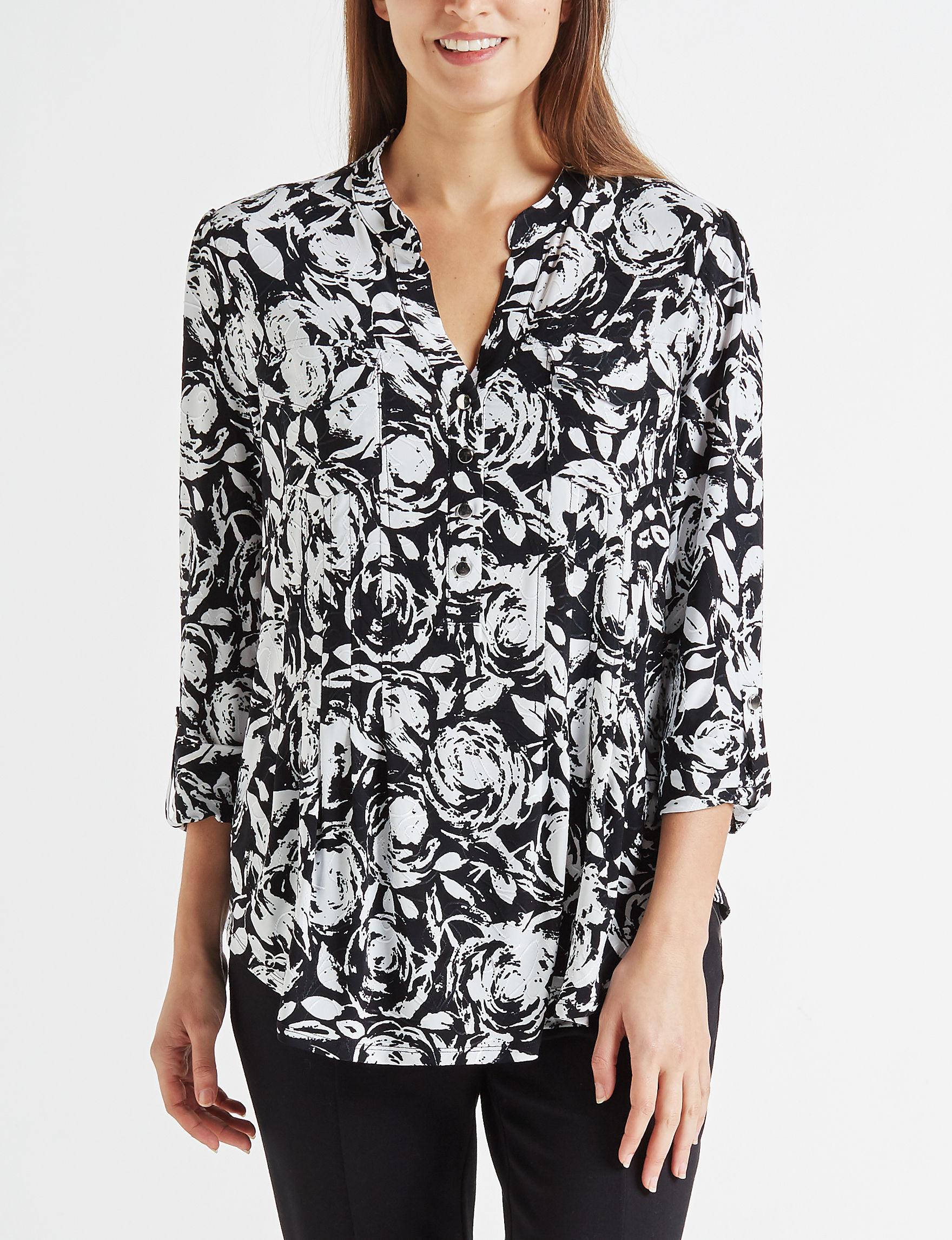 Verarose Black /  White Shirts & Blouses