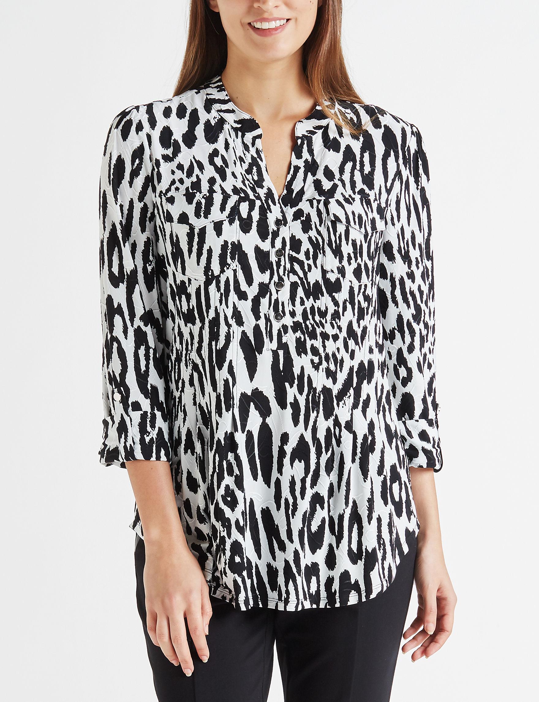 Verarose White / Black Shirts & Blouses