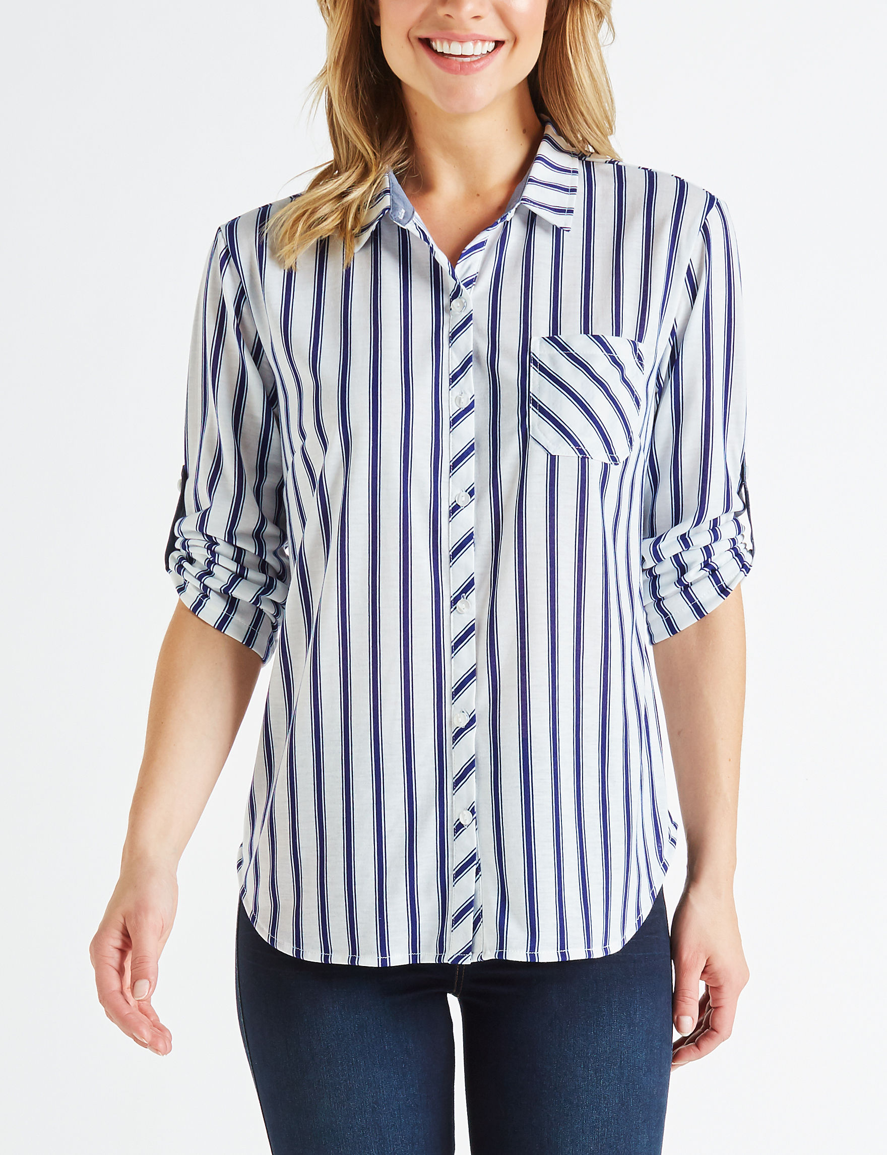 Eden & Olivia White / Navy Shirts & Blouses