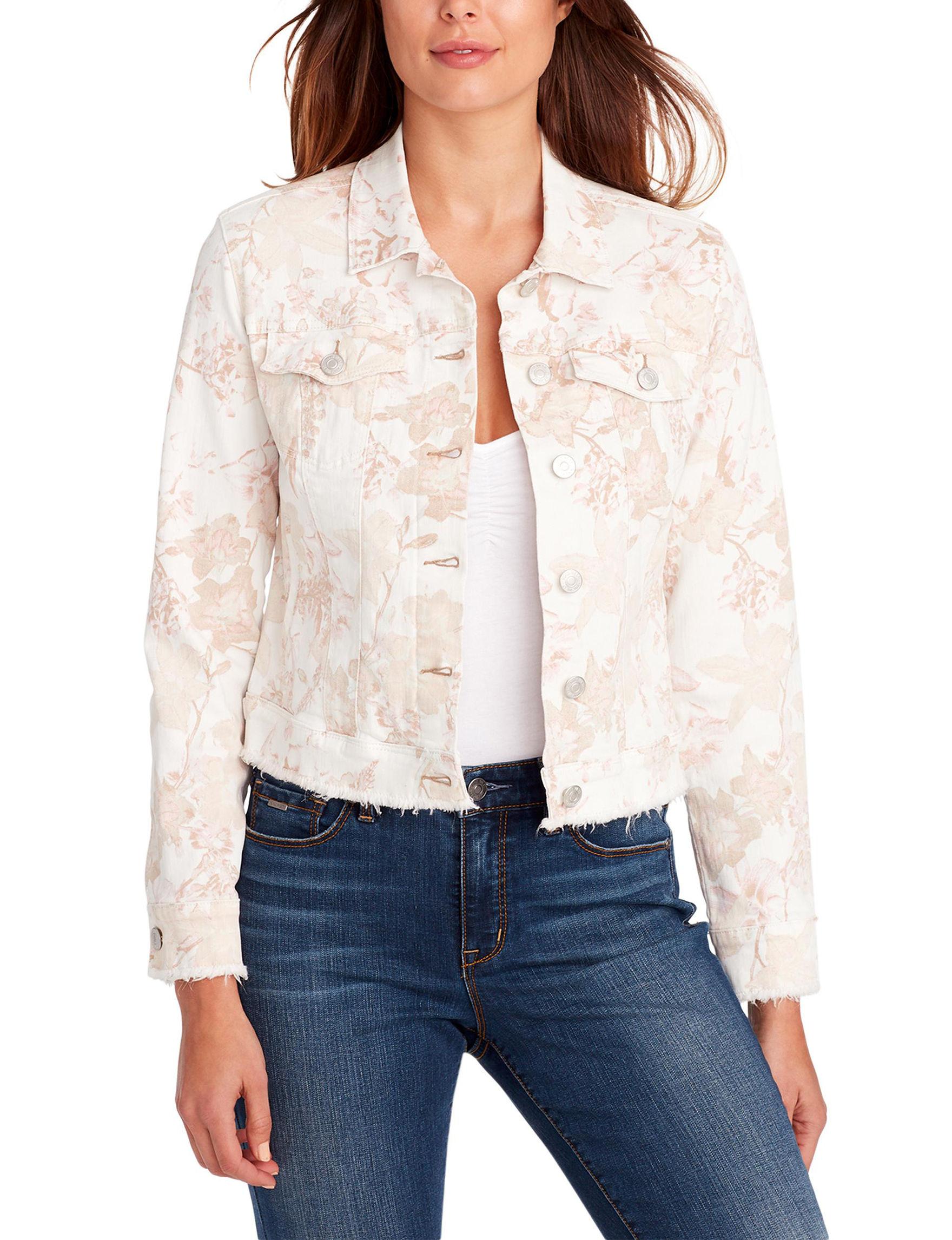Nine West White Floral Denim Jackets