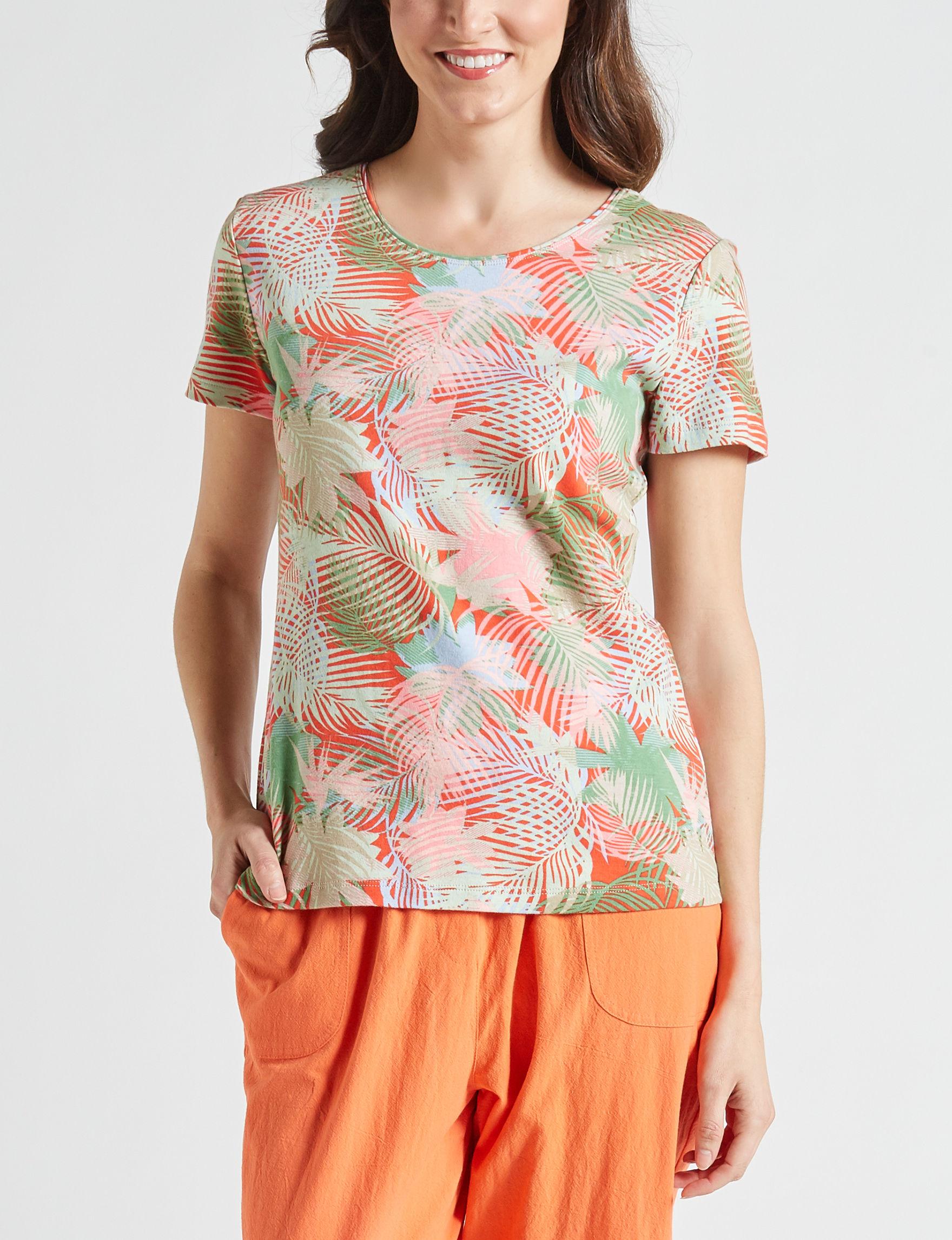 Rebecca Malone Orange / Green Shirts & Blouses
