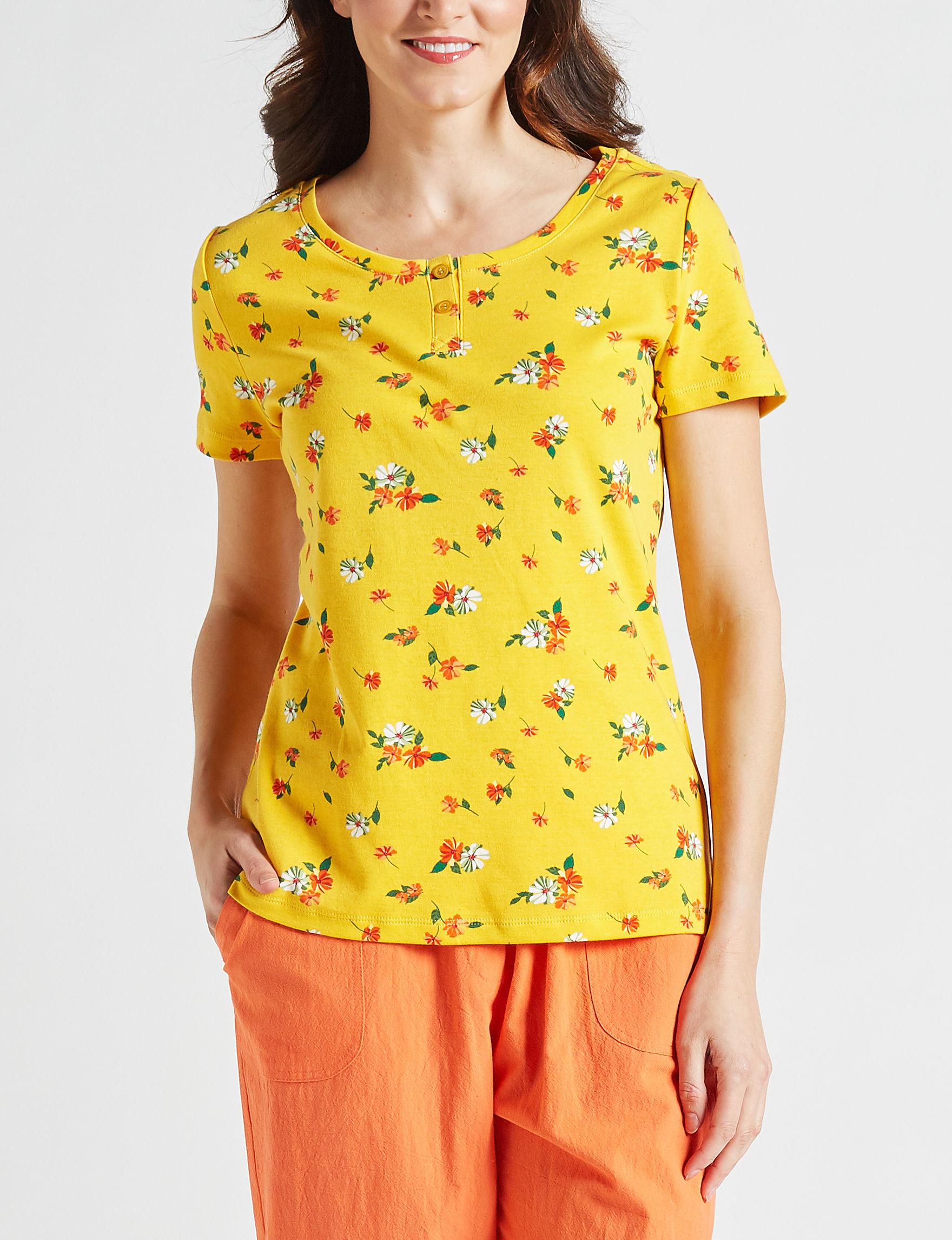 Rebecca Malone Yellow Floral Shirts & Blouses