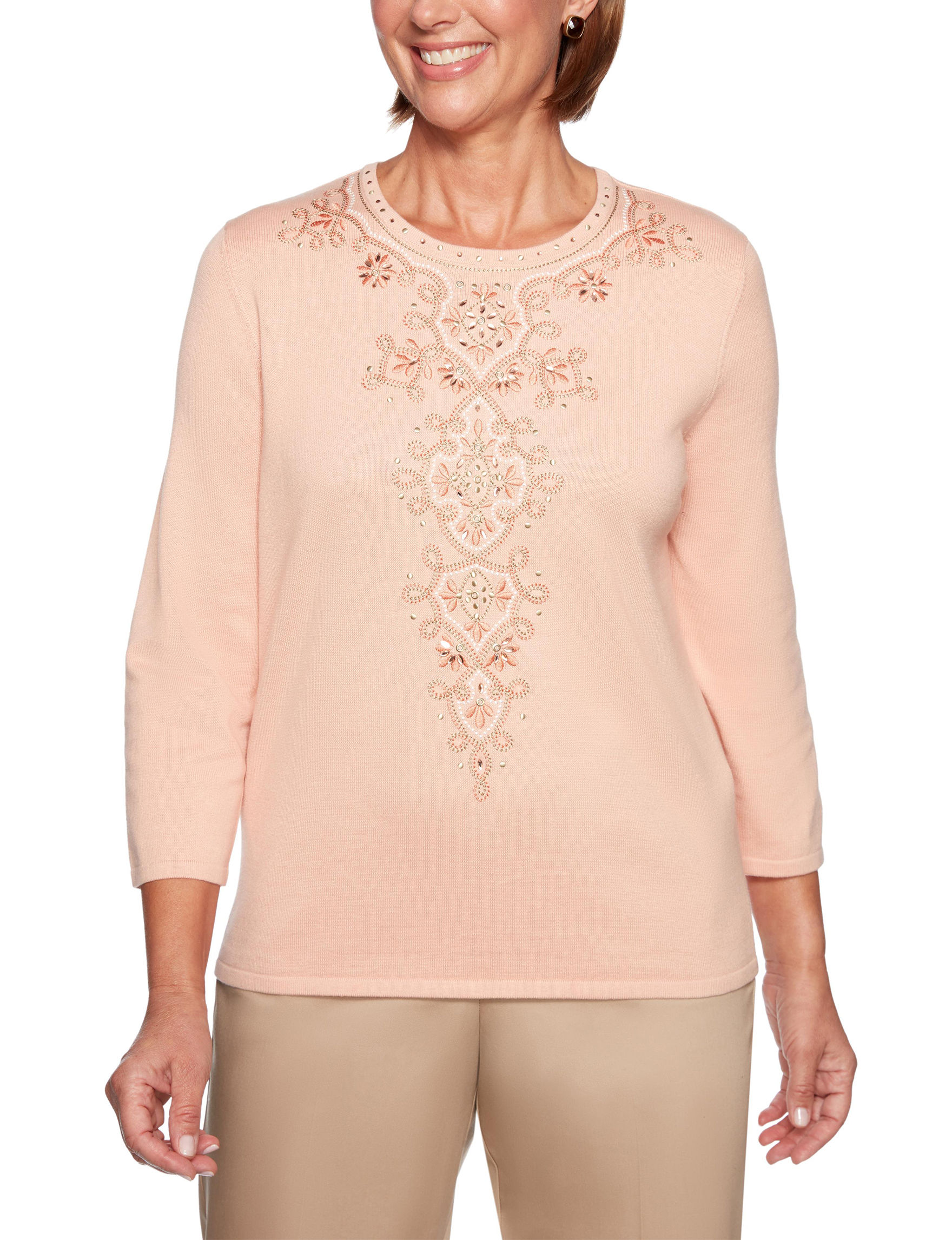Alfred Dunner Peach Shirts & Blouses