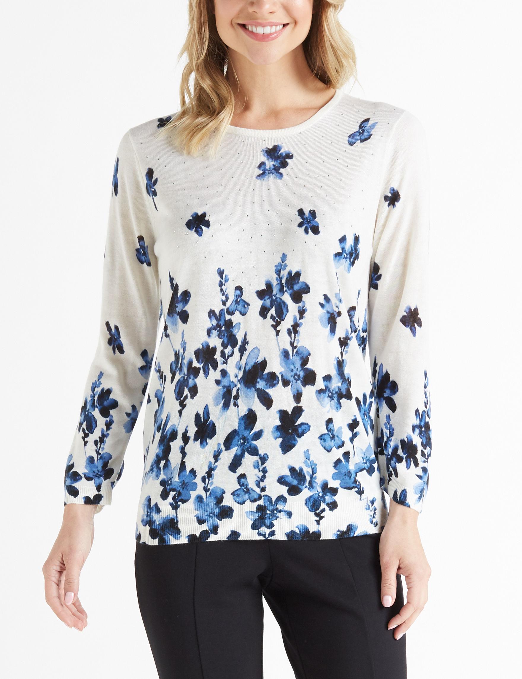 Rebecca Malone White / Blue Shirts & Blouses