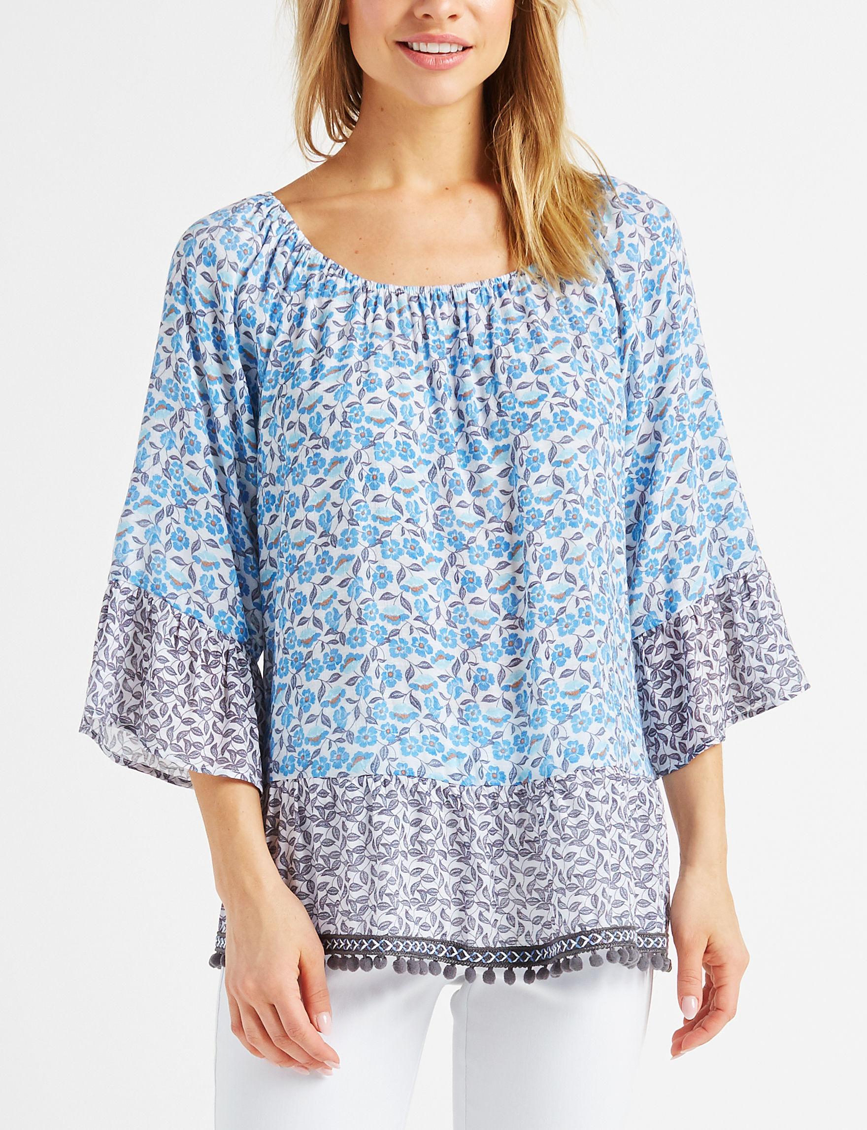 Zac & Rachel Blue Floral Shirts & Blouses