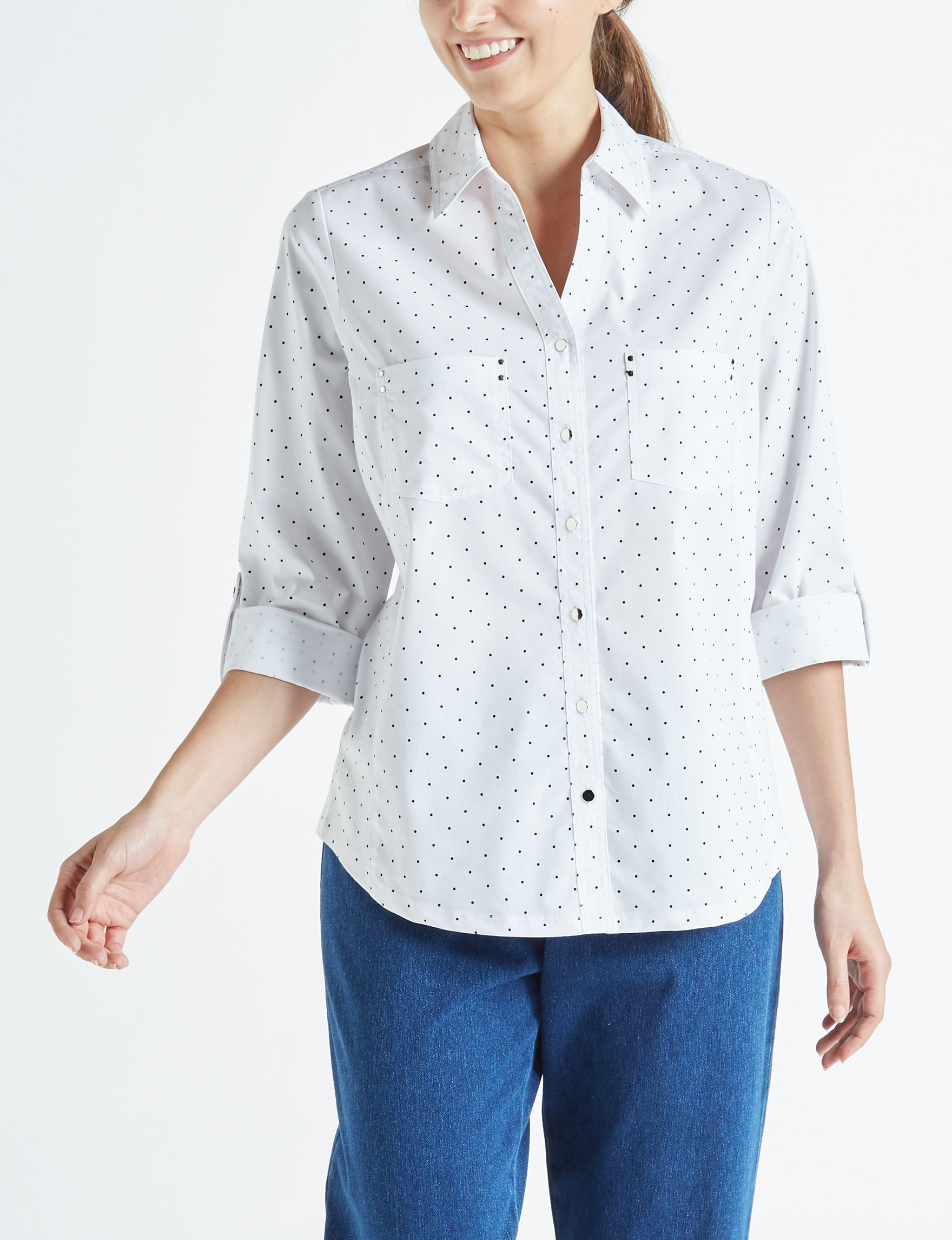 Cathy Daniels White / Black Shirts & Blouses