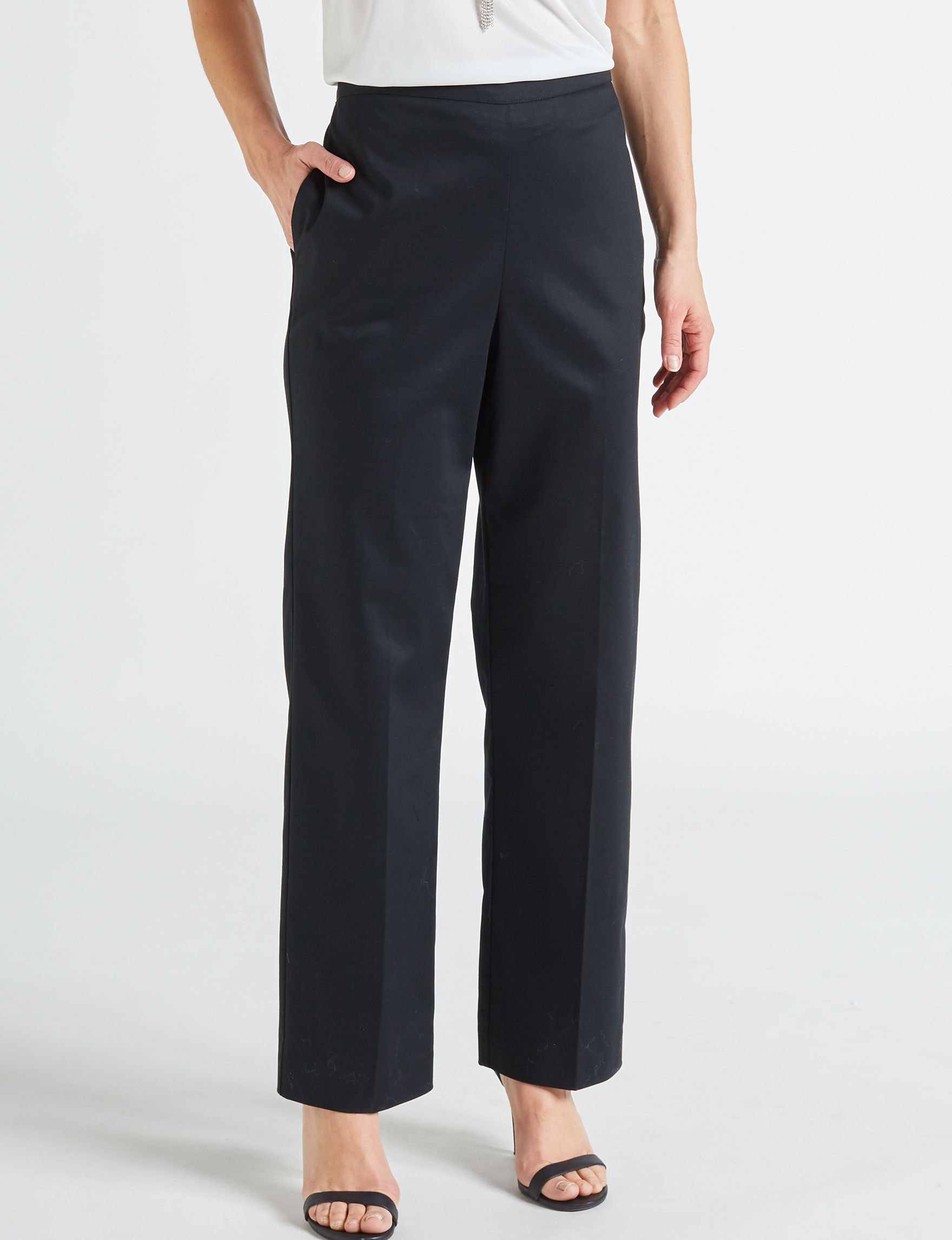 Alfred Dunner Black Regular Relaxed Straight Stretch