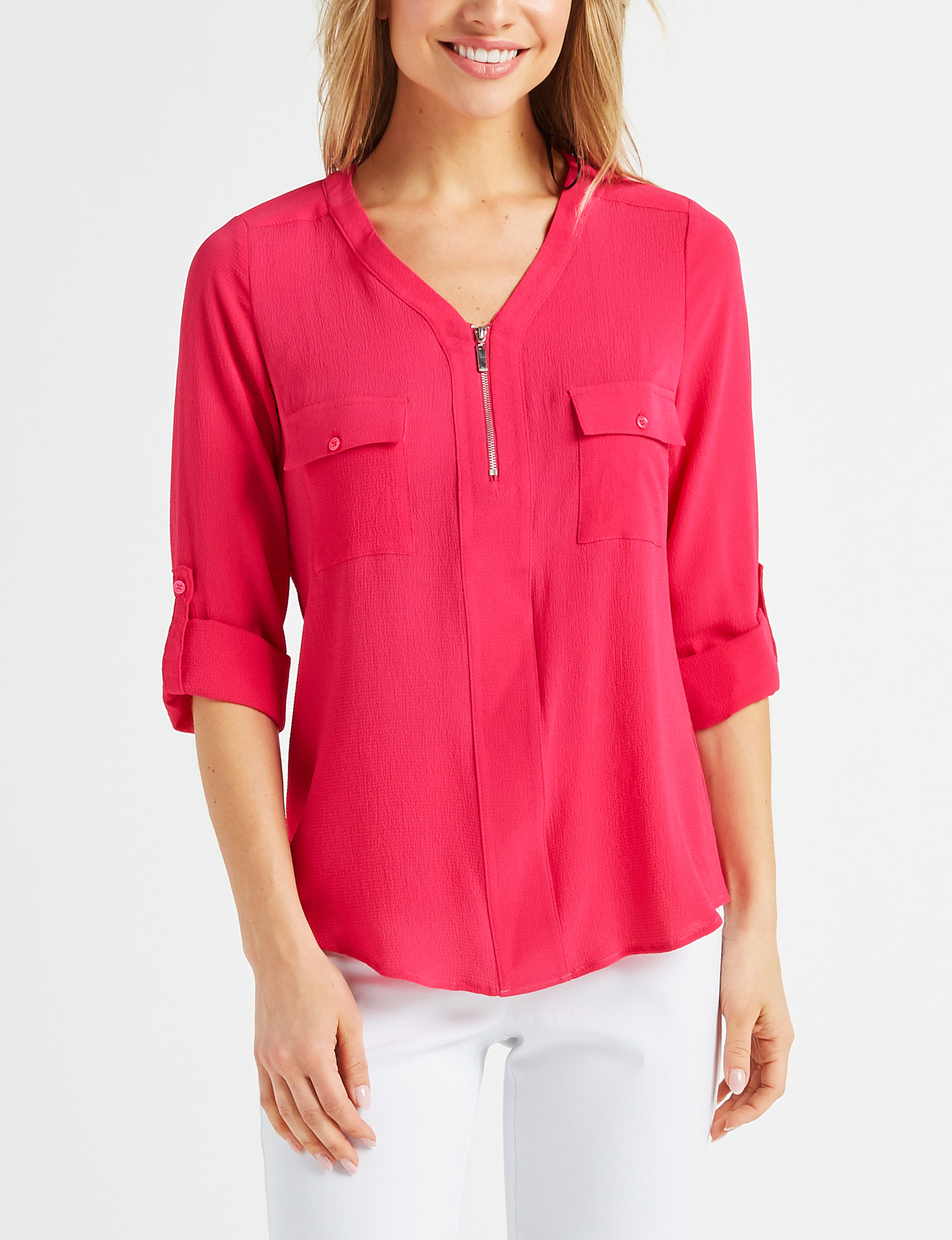 NY Collection Fuschia Shirts & Blouses