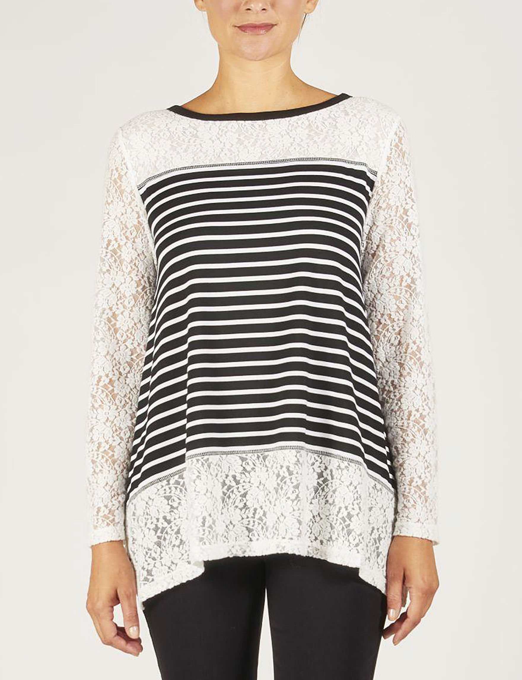 Skyes The Limit Black / White Stripe Shirts & Blouses