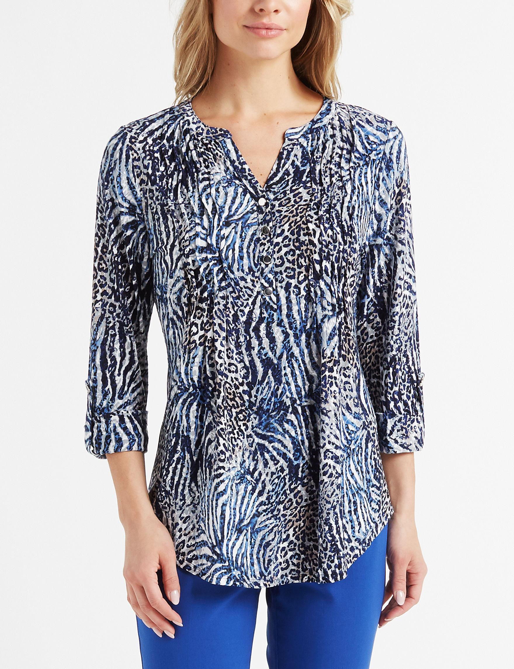Verarose Blue Grey Shirts & Blouses
