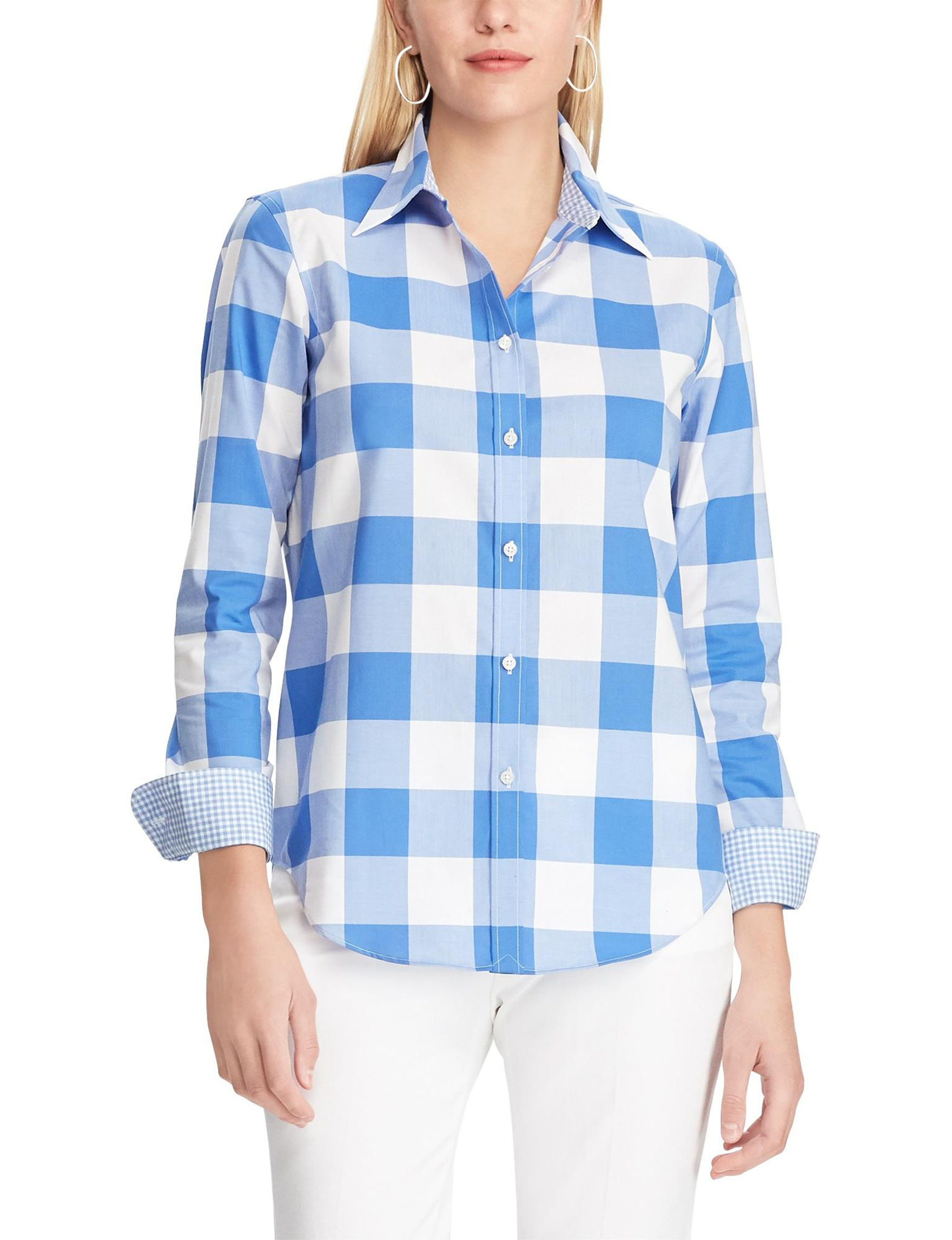 Chaps Blue / White Shirts & Blouses