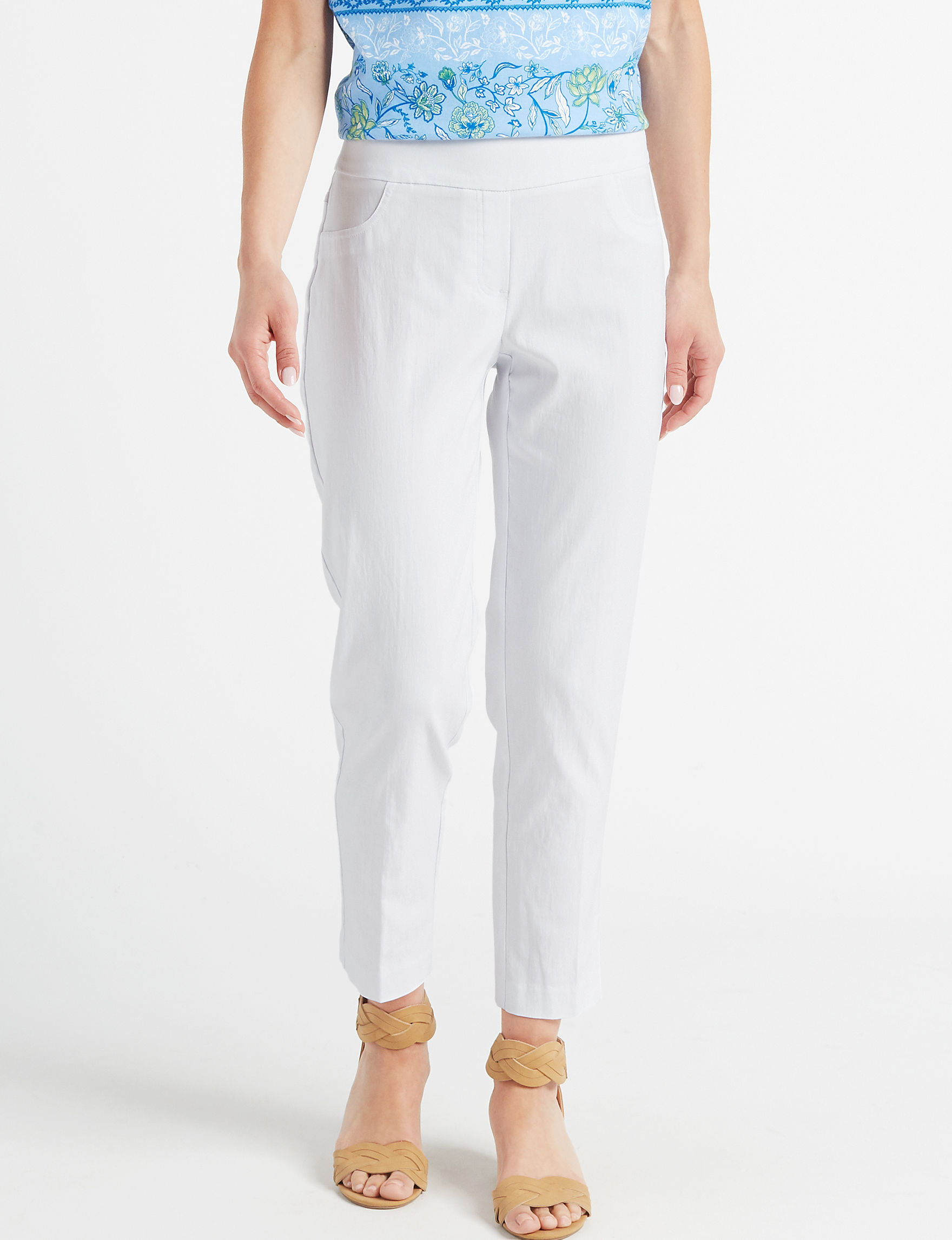 Ruby Road White Capris & Crops Classic Straight