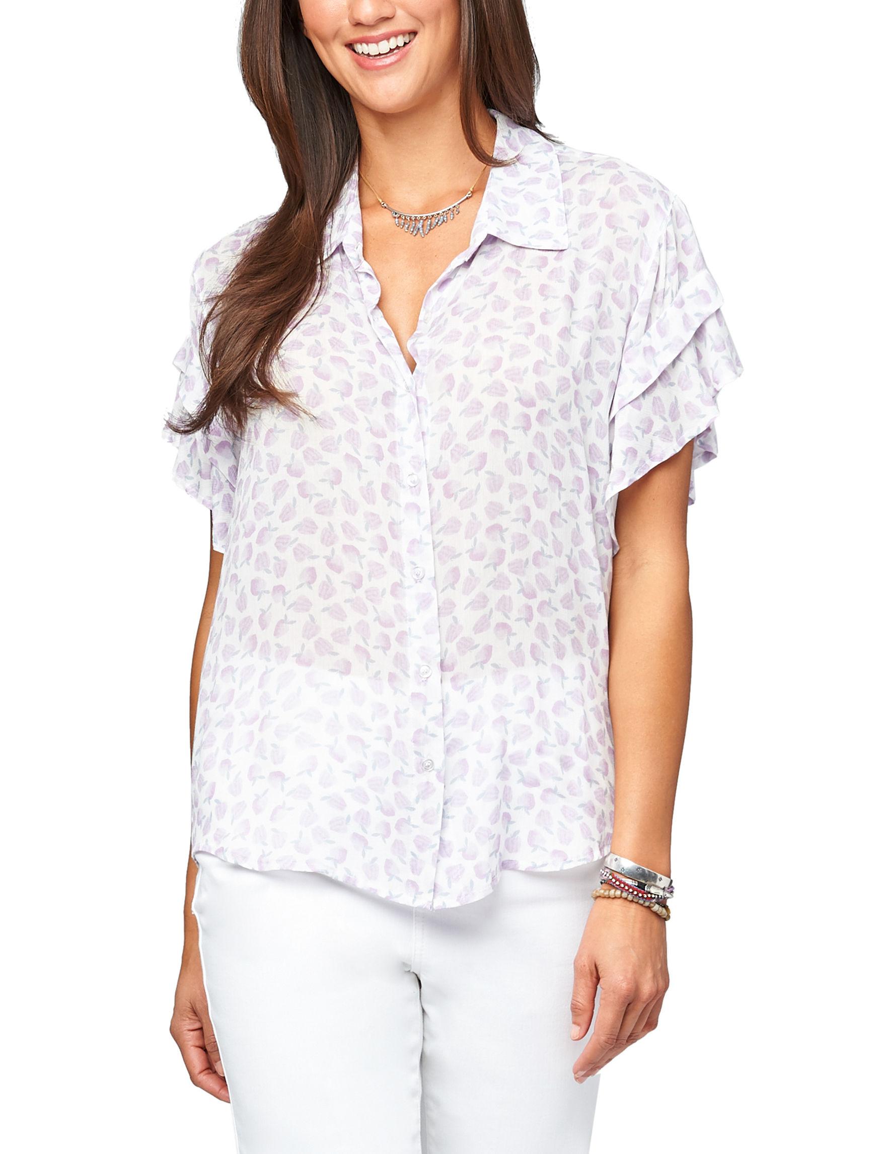 Democracy White Lilac Shirts & Blouses