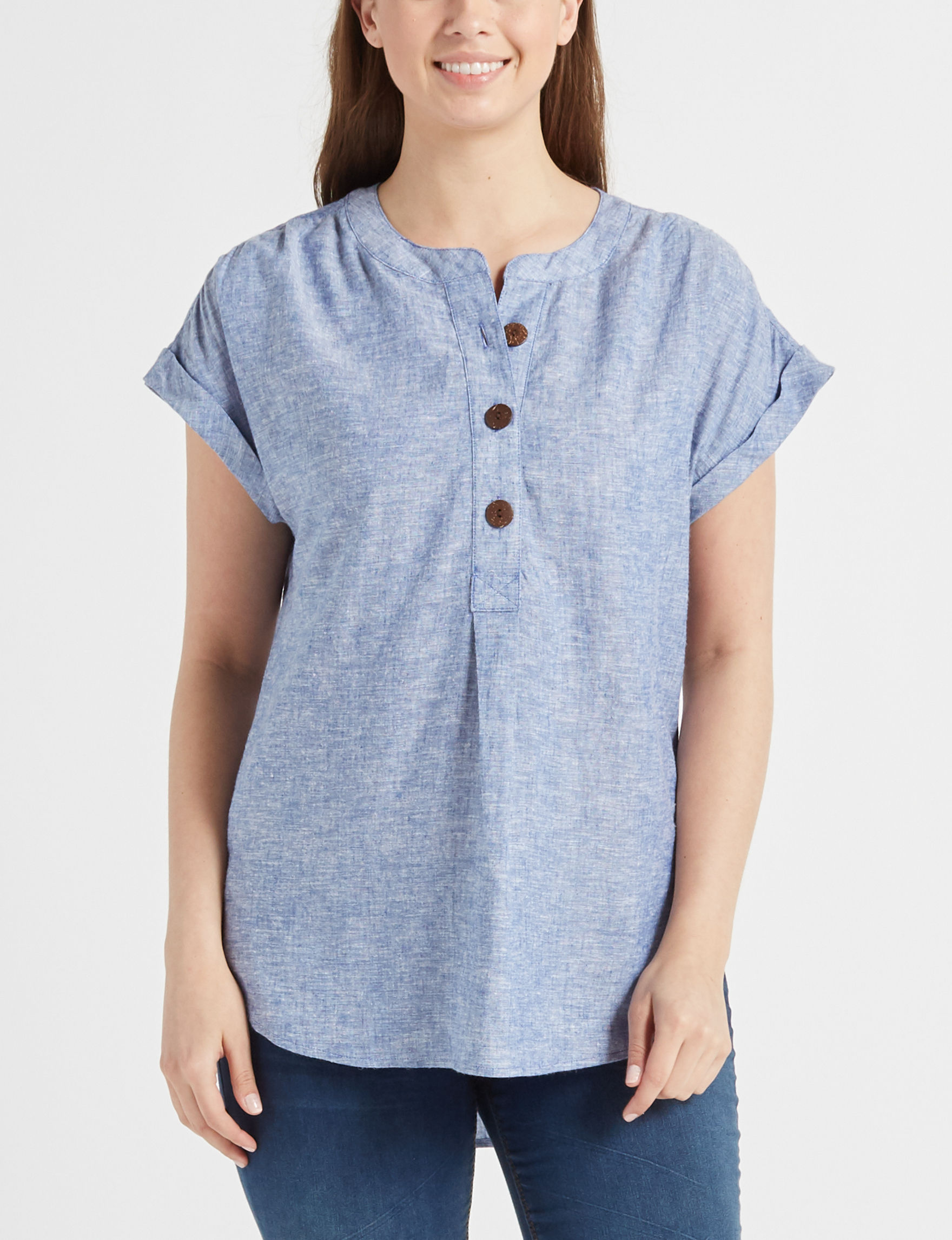 Fred David Blue Chambray Shirts & Blouses