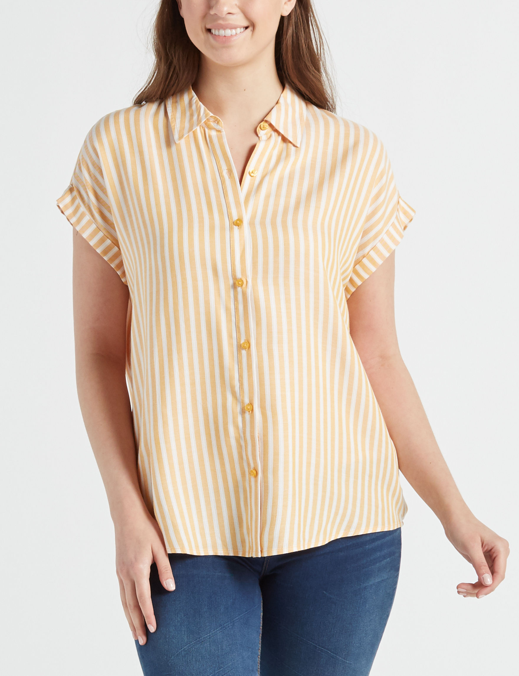 Fred David Yellow Stripe Shirts & Blouses