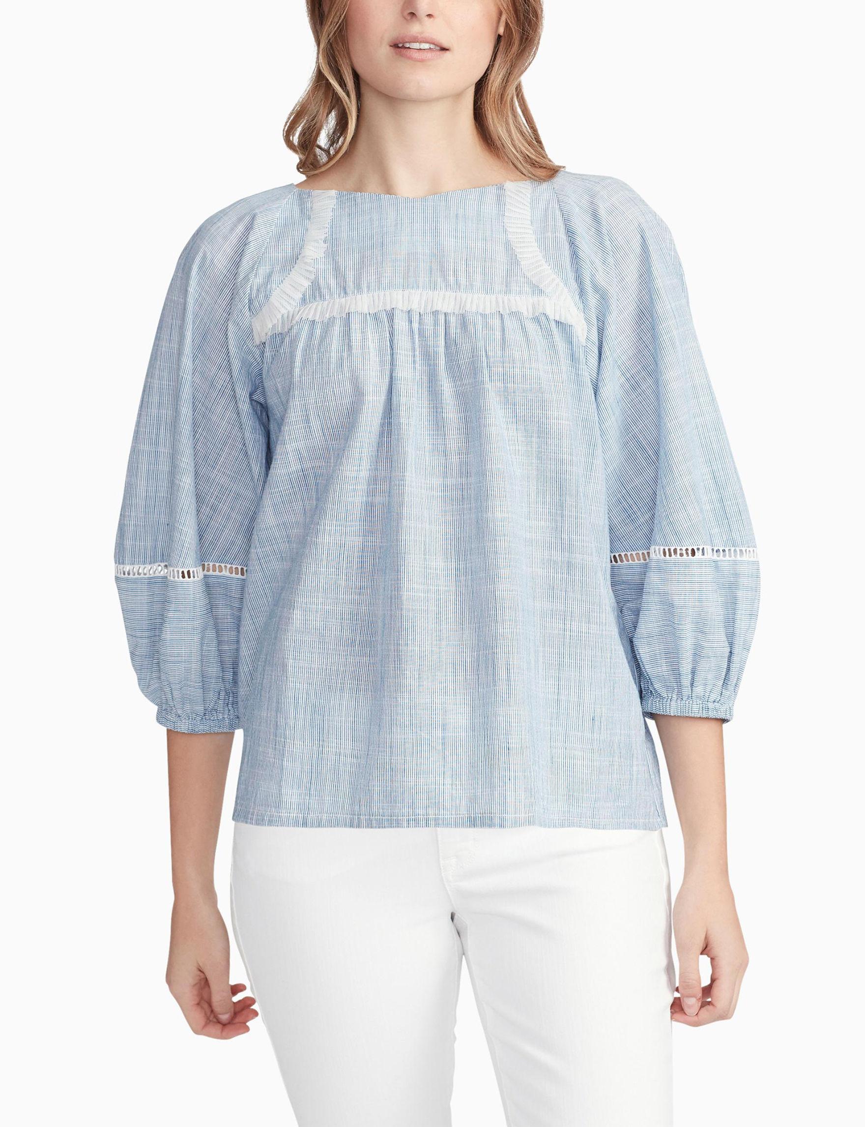 Vintage America Blues Blue / White Shirts & Blouses