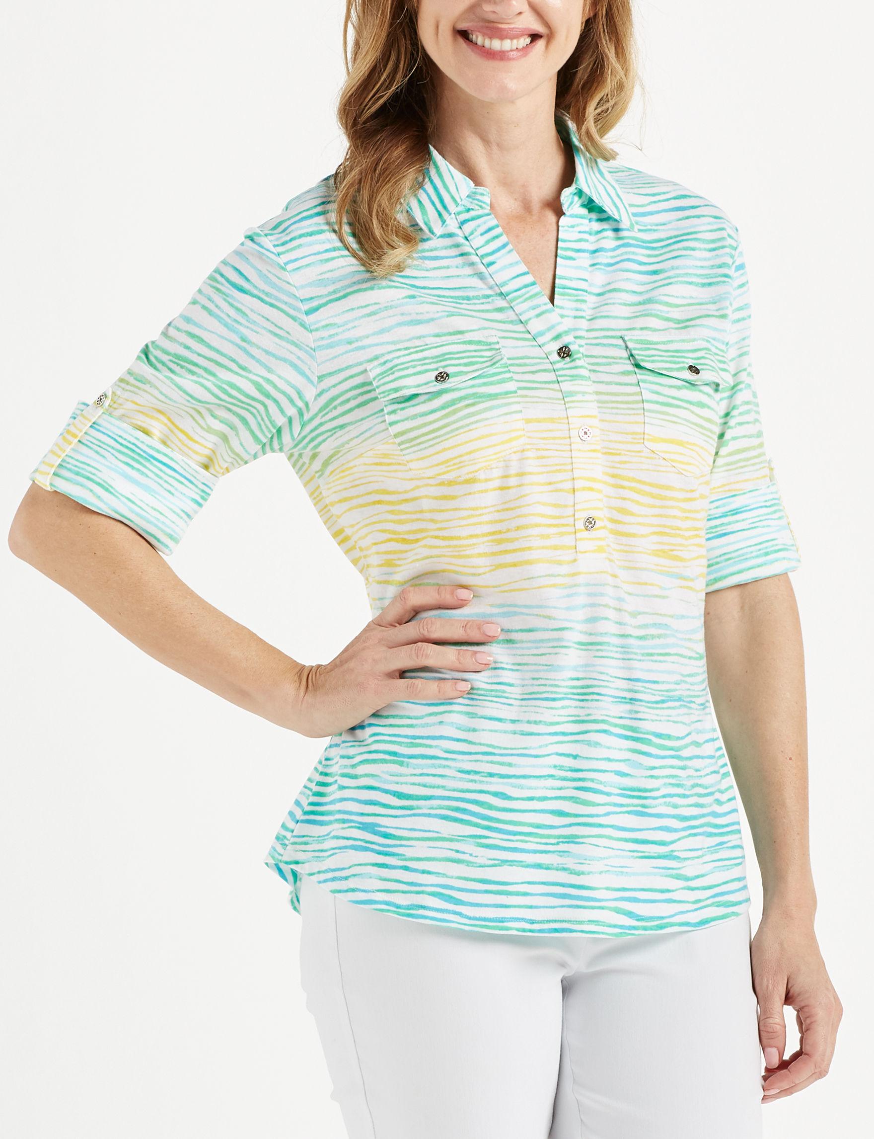 Rebecca Malone Turquoise Multi Shirts & Blouses