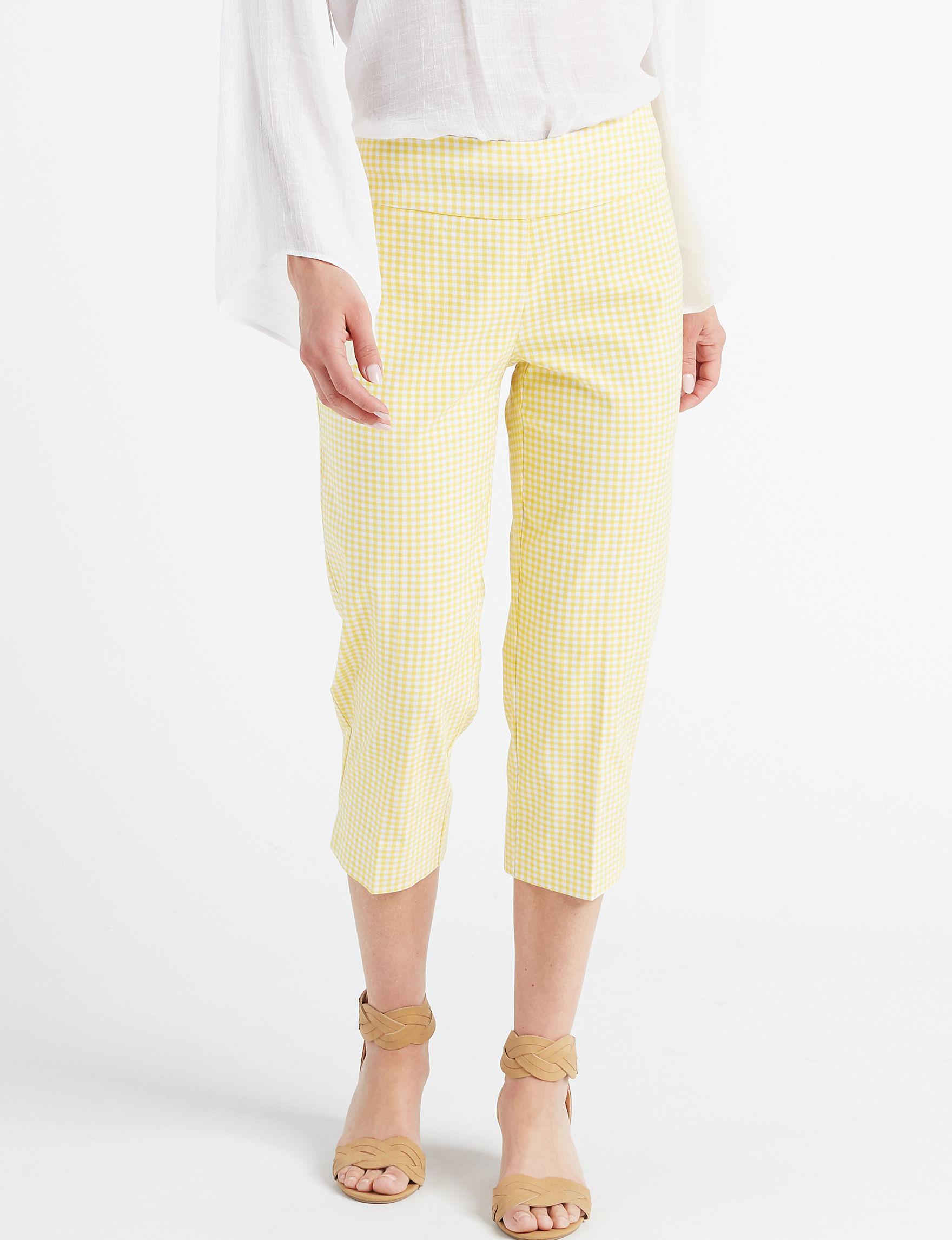 Rebecca Malone Yellow / White Capris & Crops