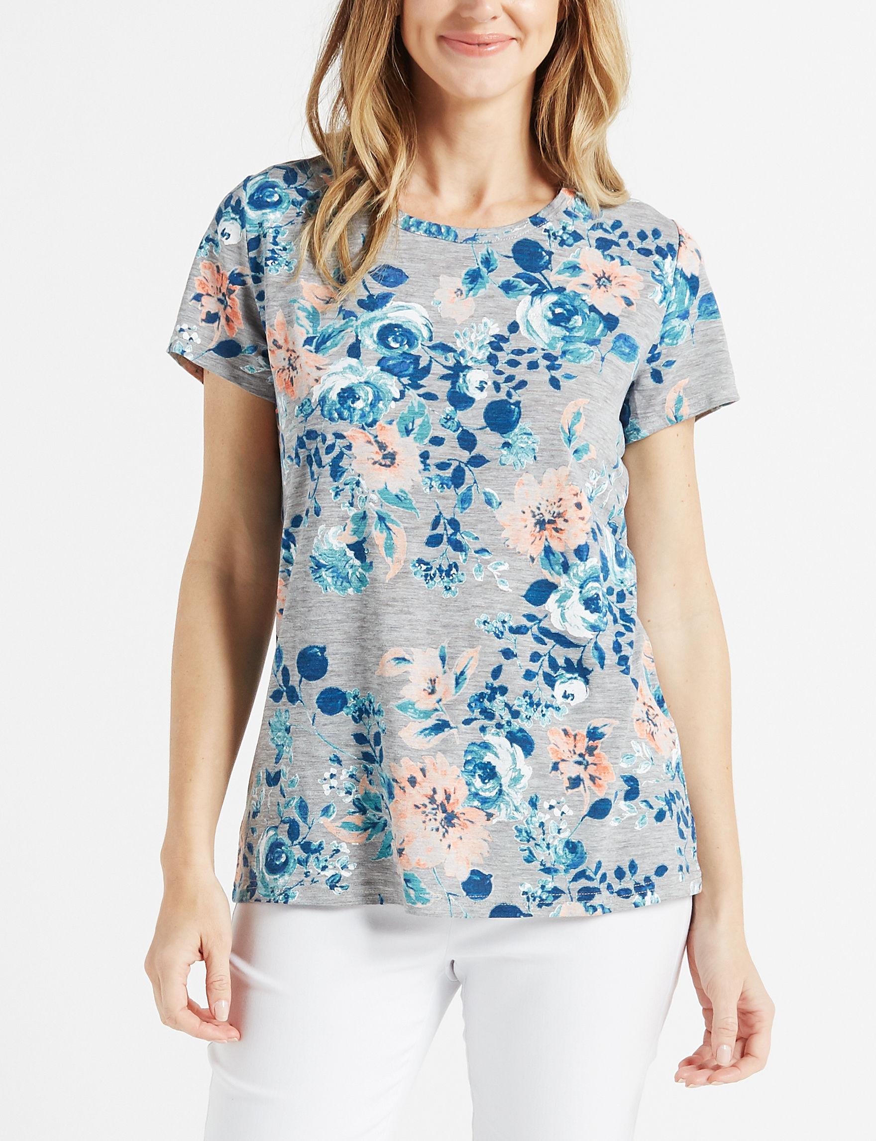Onyx Grey / Pink Floral Shirts & Blouses Tees & Tanks
