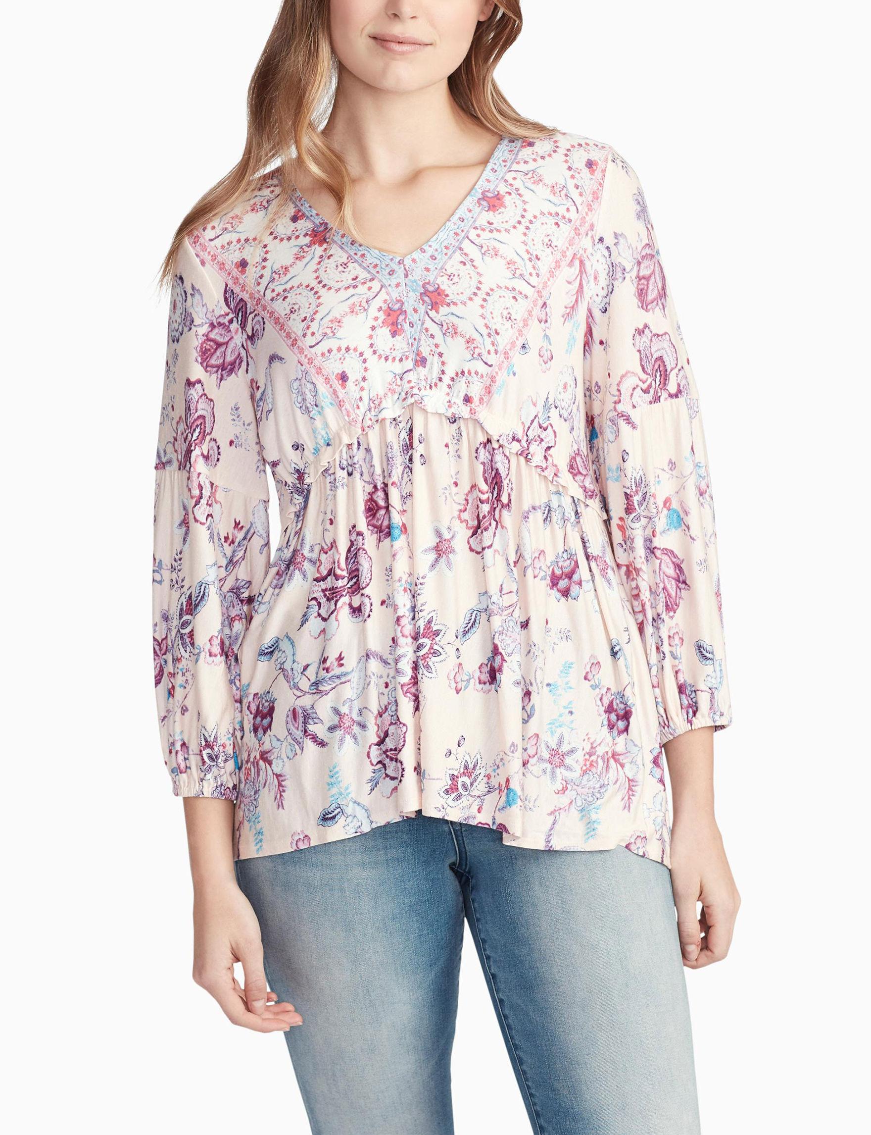 Vintage America Blues Pink Floral Shirts & Blouses