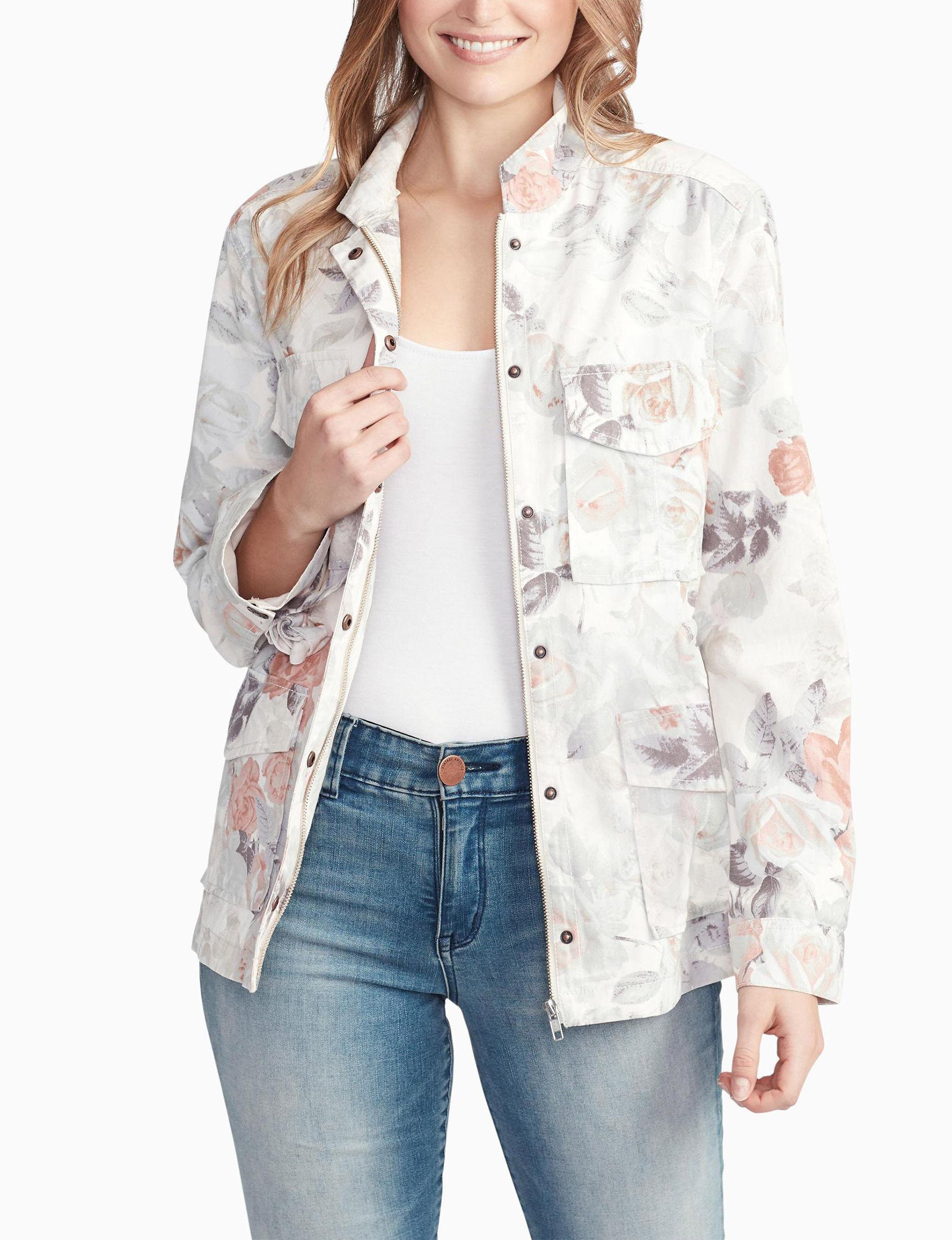 Vintage America Blues White Floral Lightweight Jackets & Blazers