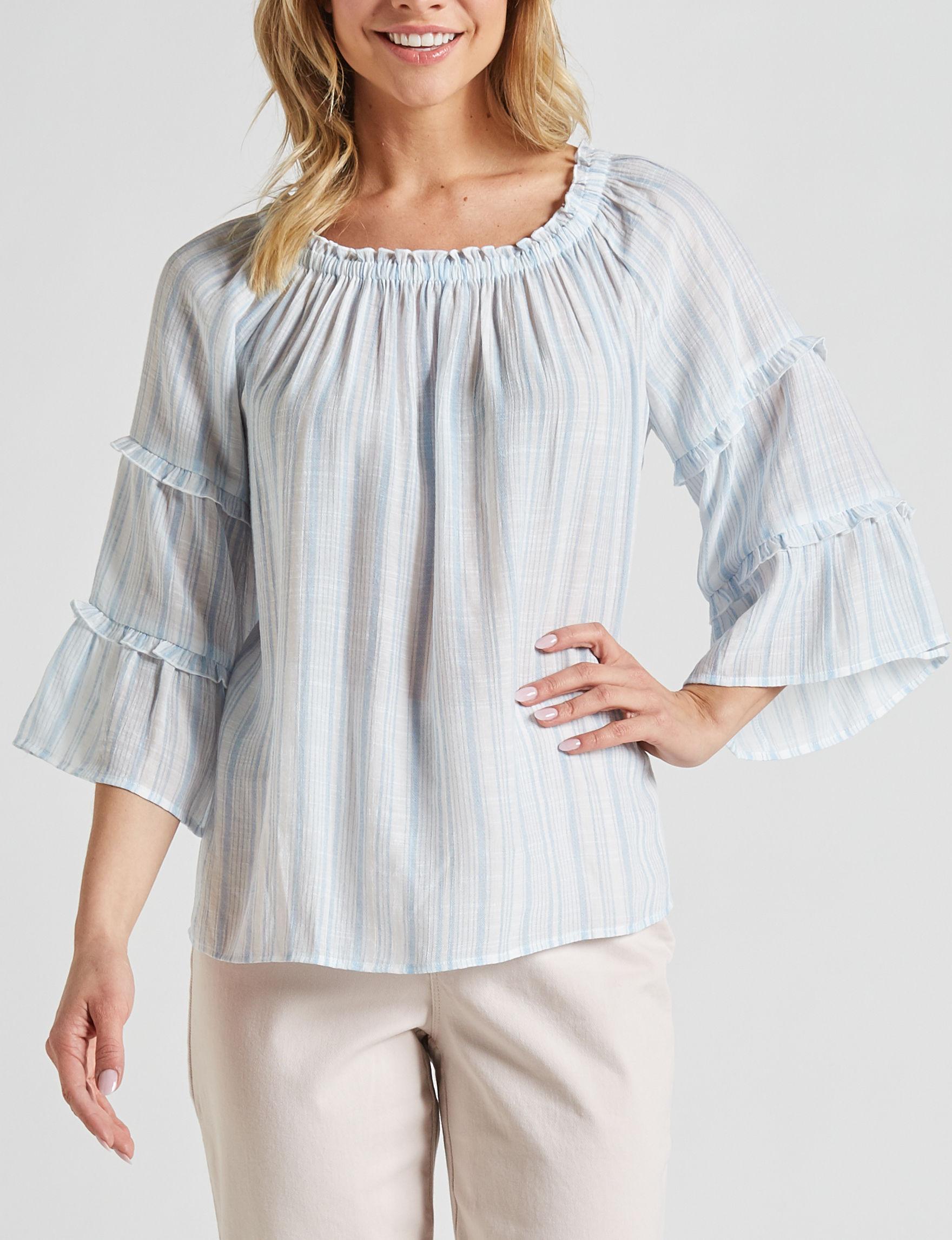 Zac & Rachel Blue / White Shirts & Blouses