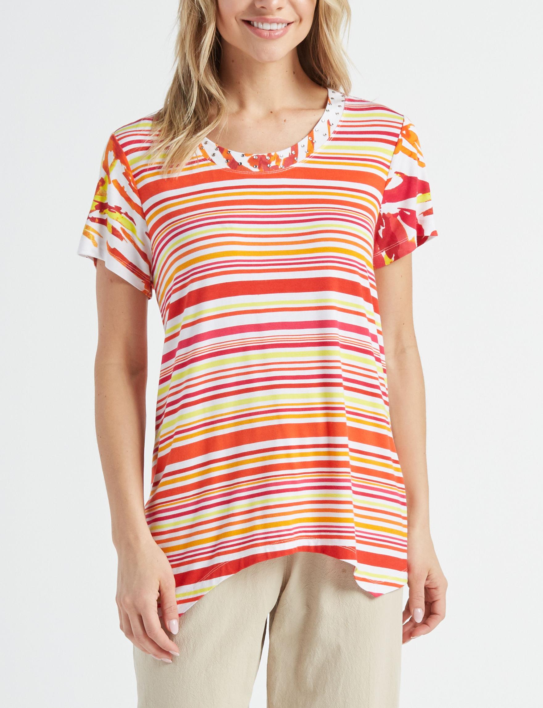 Rebecca Malone White / Red Shirts & Blouses Tees & Tanks