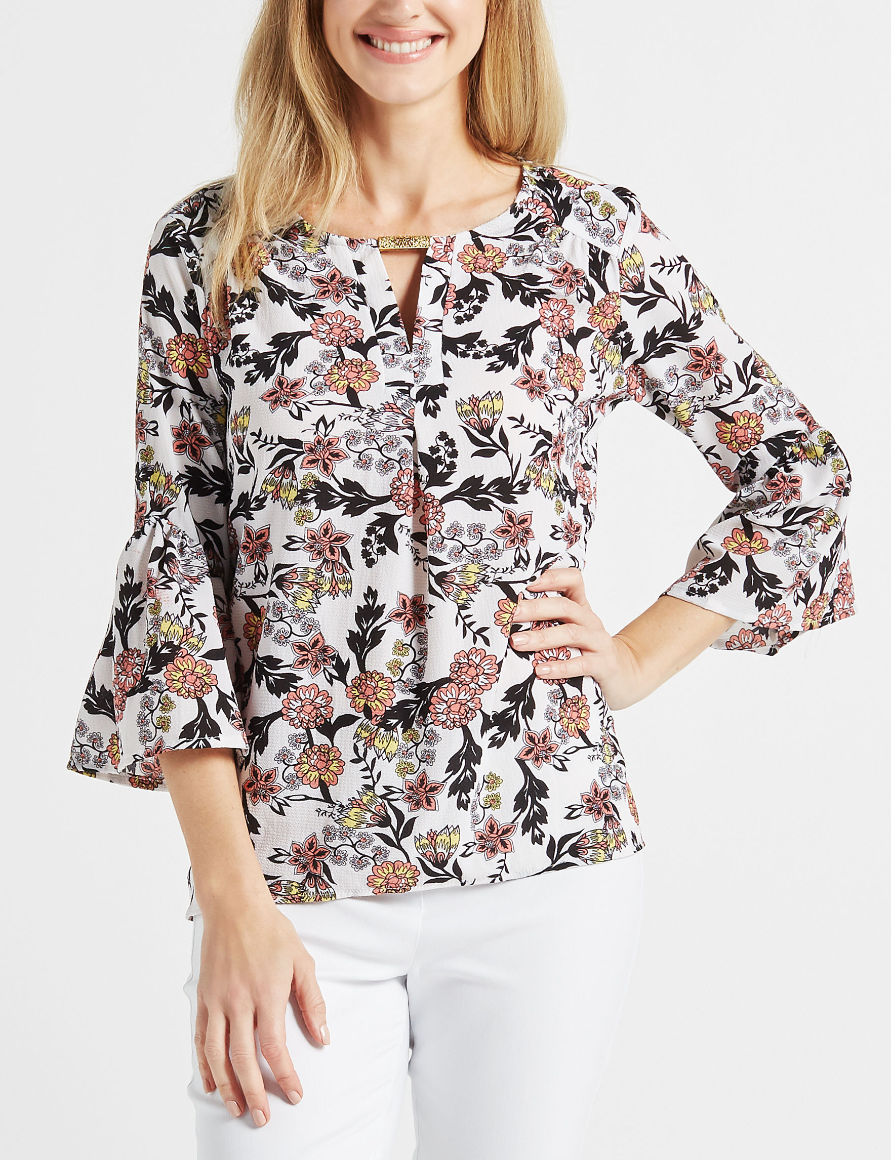 NY Collection White Multi Shirts & Blouses