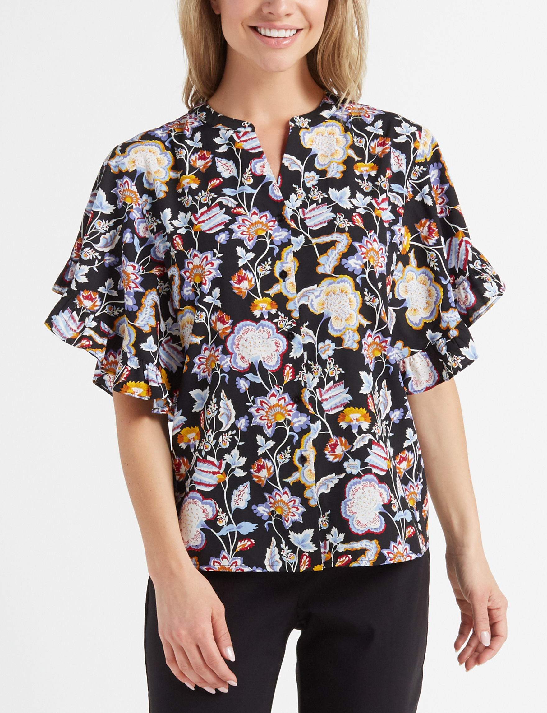 Maggie & Max Black Multi Shirts & Blouses