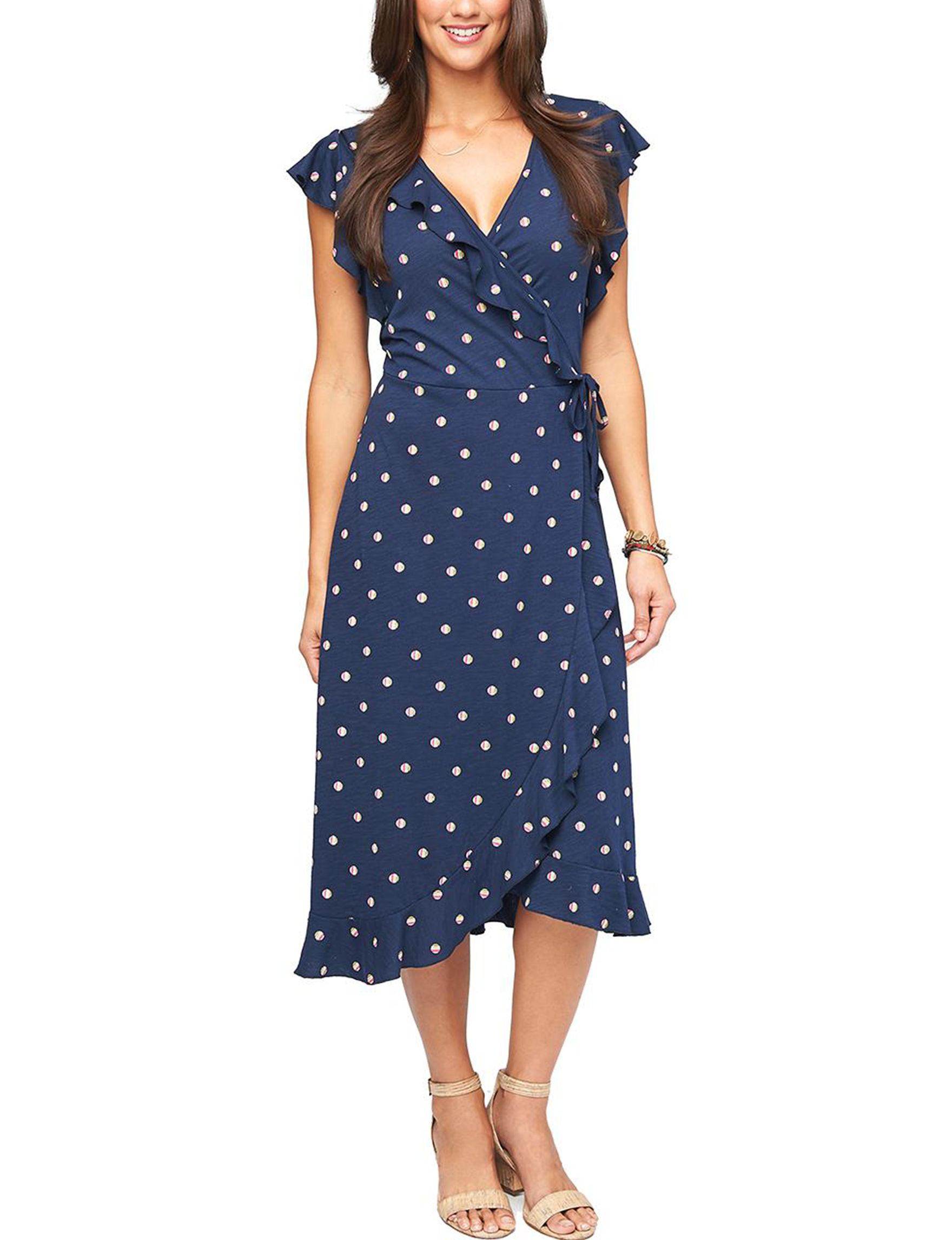 Democracy Navy Everyday & Casual Fit & Flare Dresses