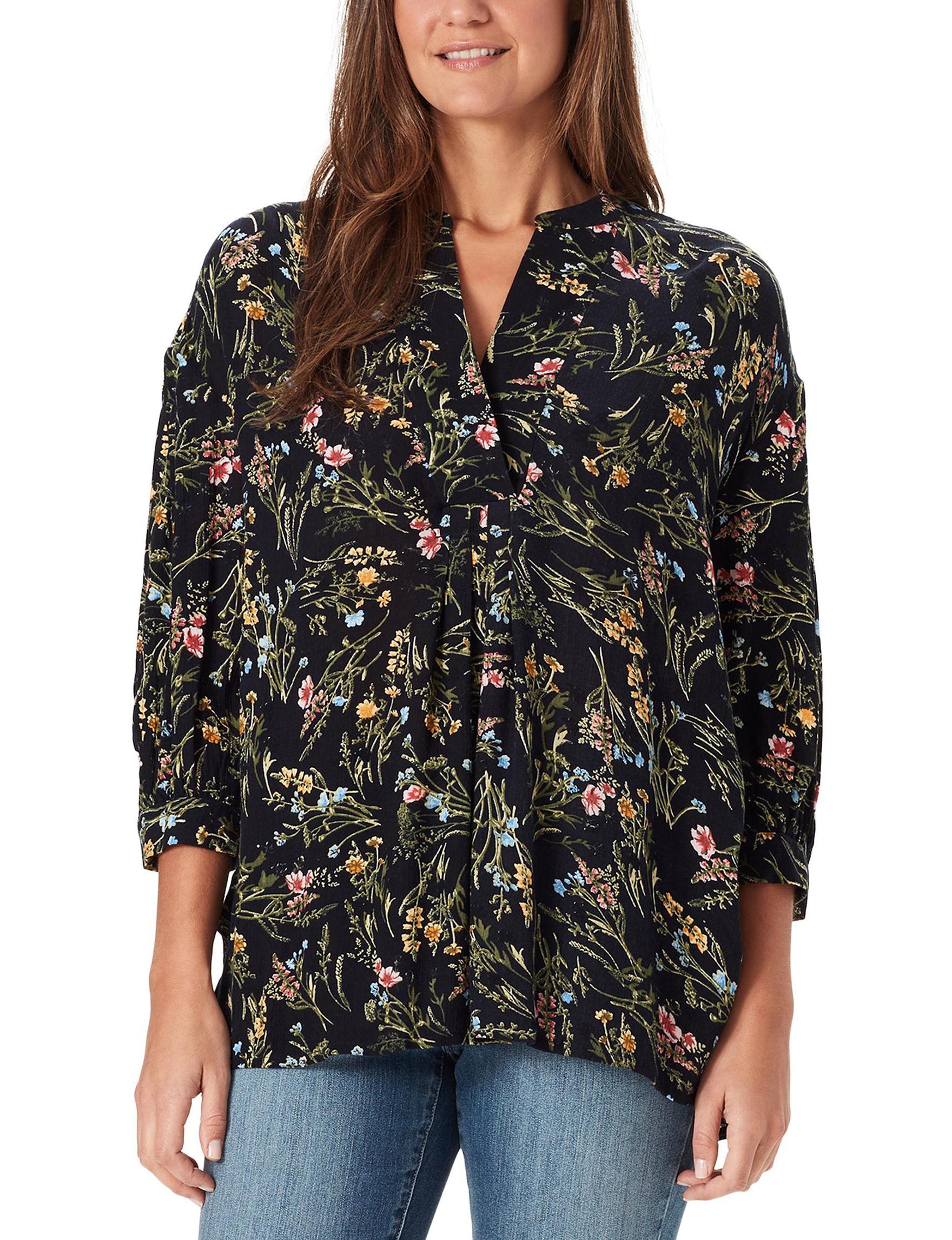 Bandolino Black Floral Shirts & Blouses