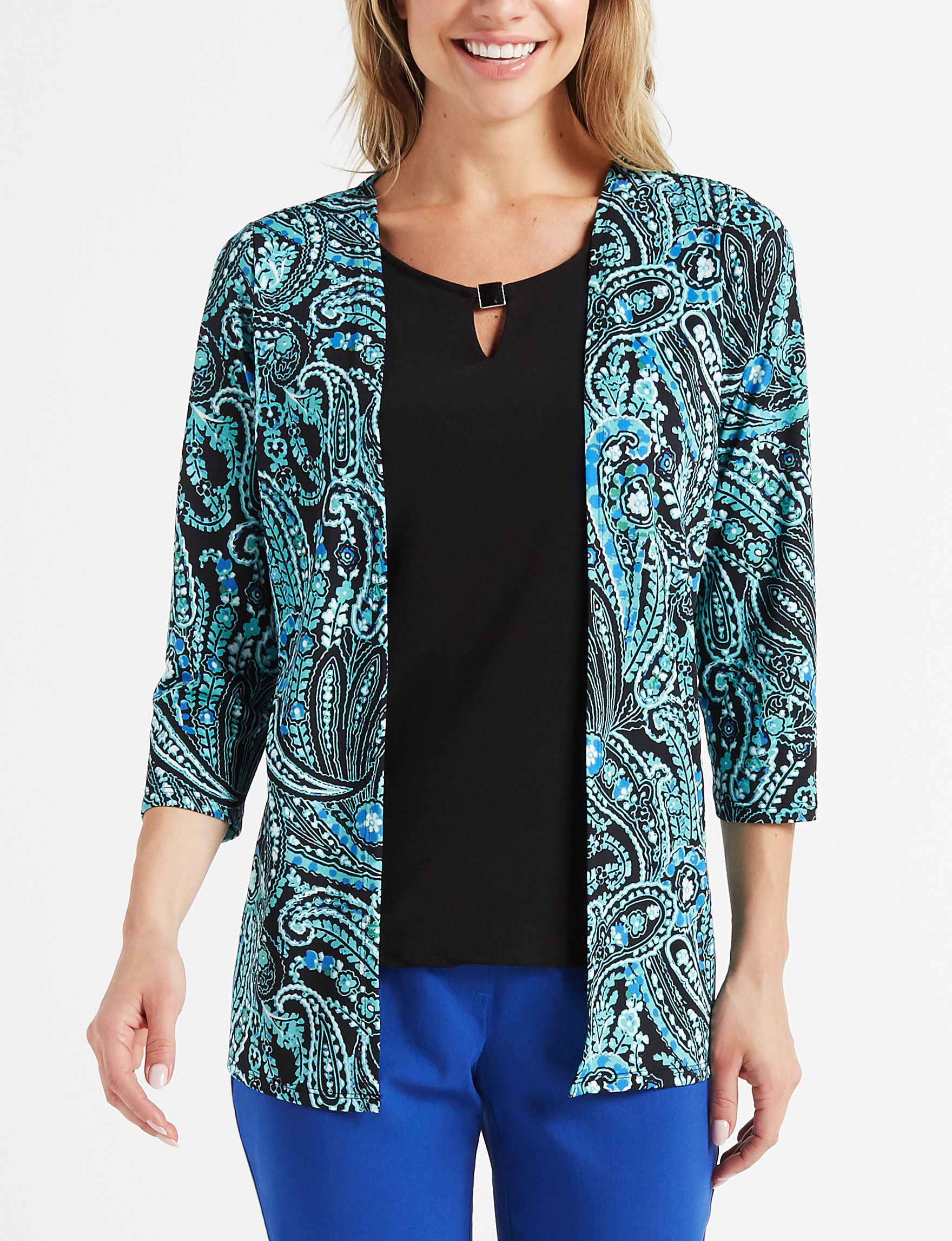 Rebecca Malone Teal Paisley Shirts & Blouses
