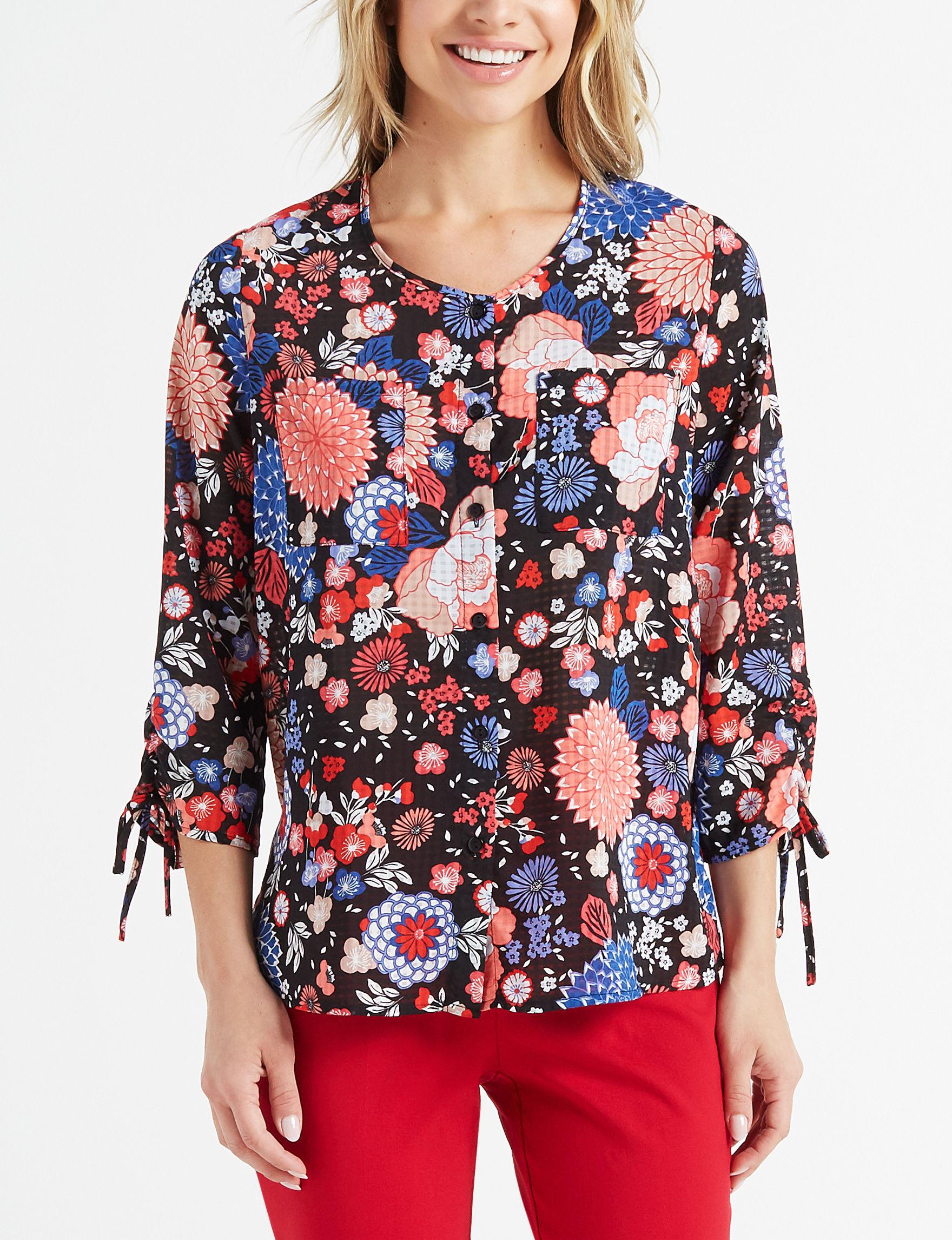 Rebecca Malone Black Floral Shirts & Blouses