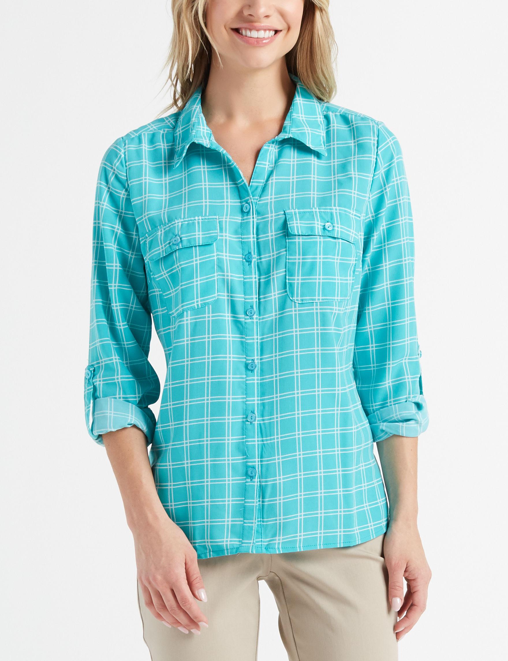 Rebecca Malone Aqua / White Shirts & Blouses
