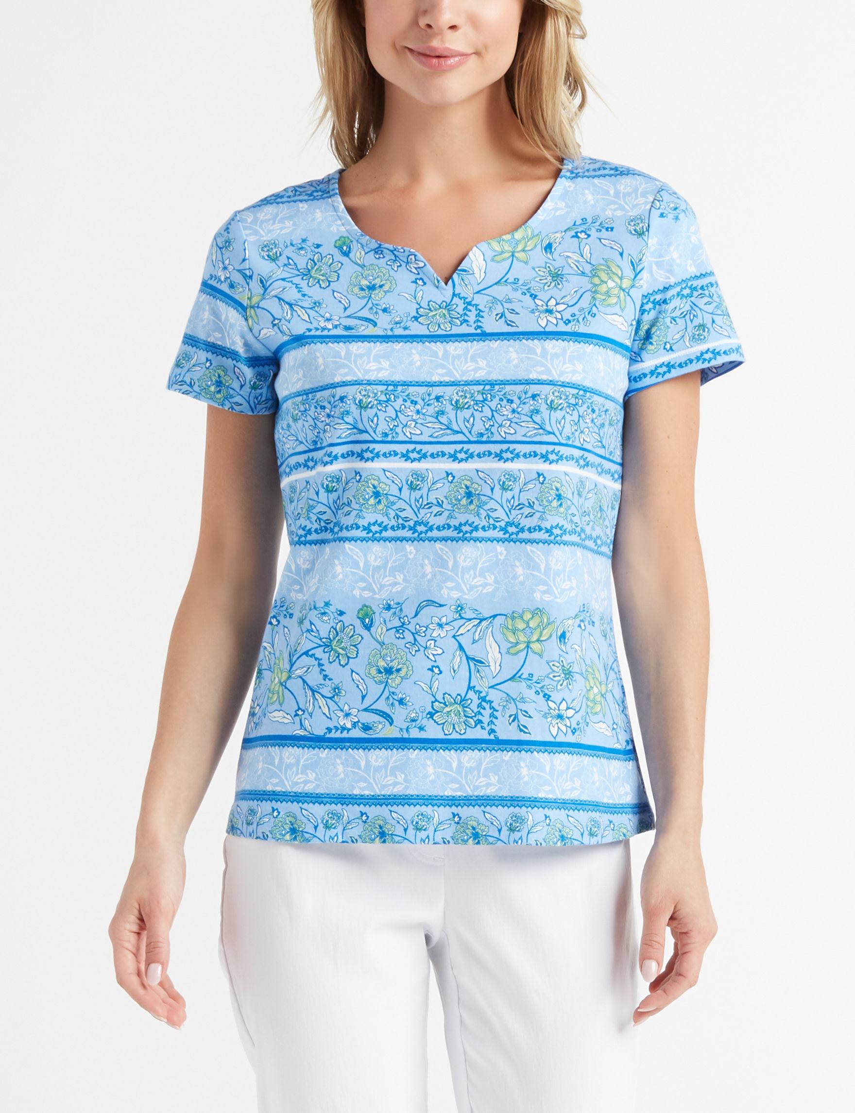 Rebecca Malone Blue Multi Shirts & Blouses Tees & Tanks