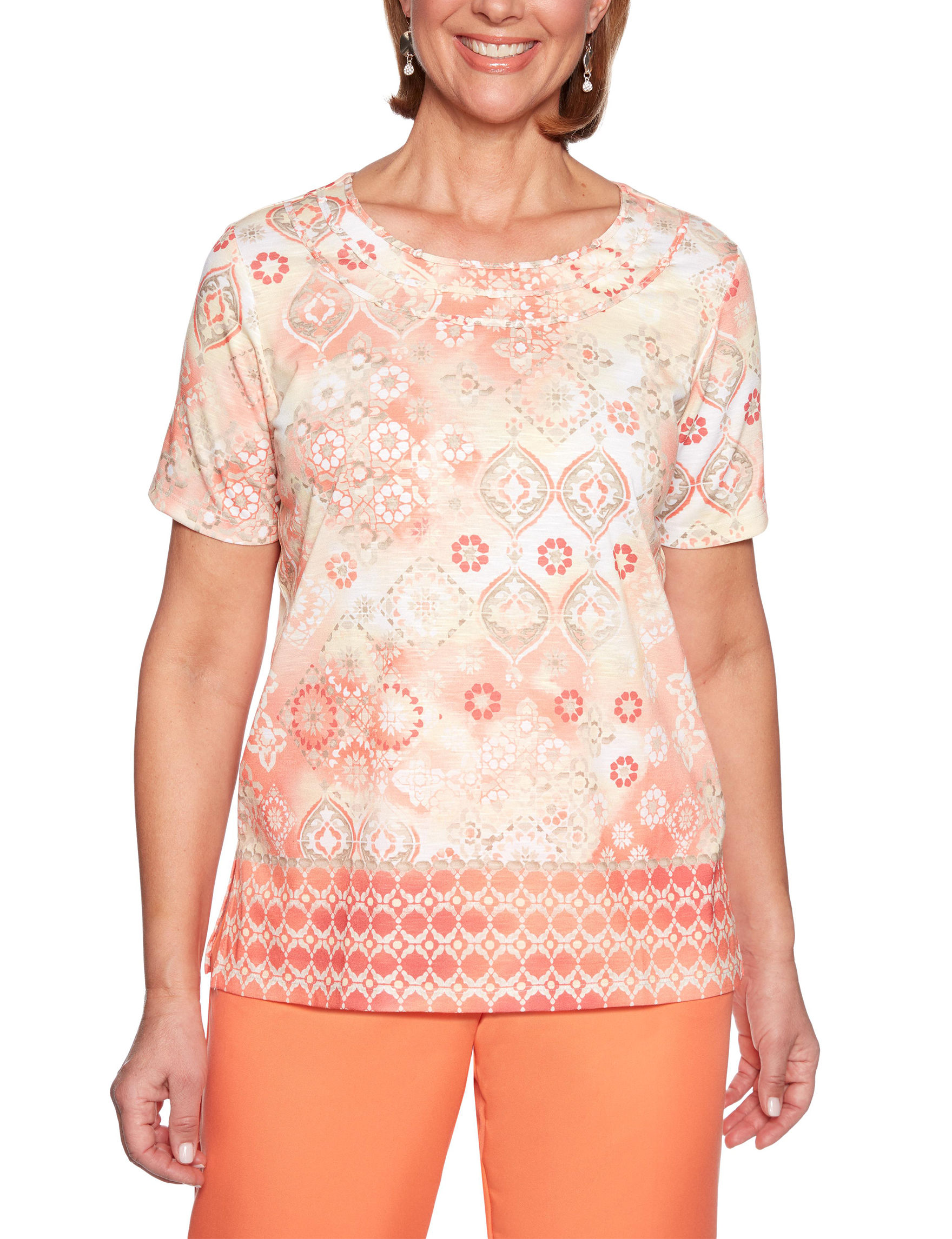 Alfred Dunner Orange Multi Shirts & Blouses