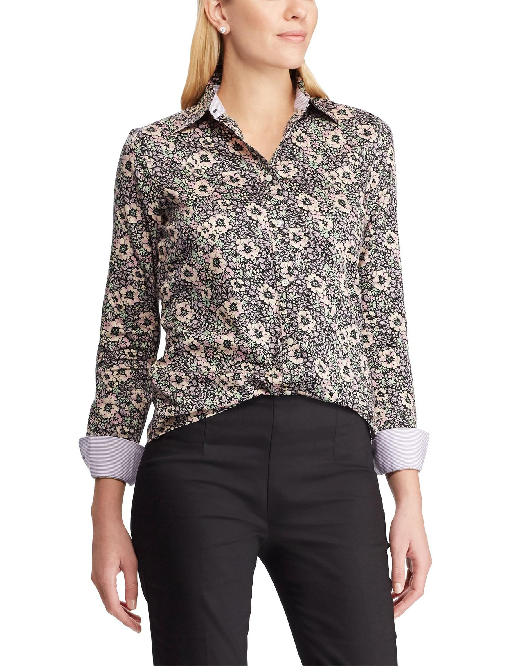 Chaps Black Floral Shirts & Blouses