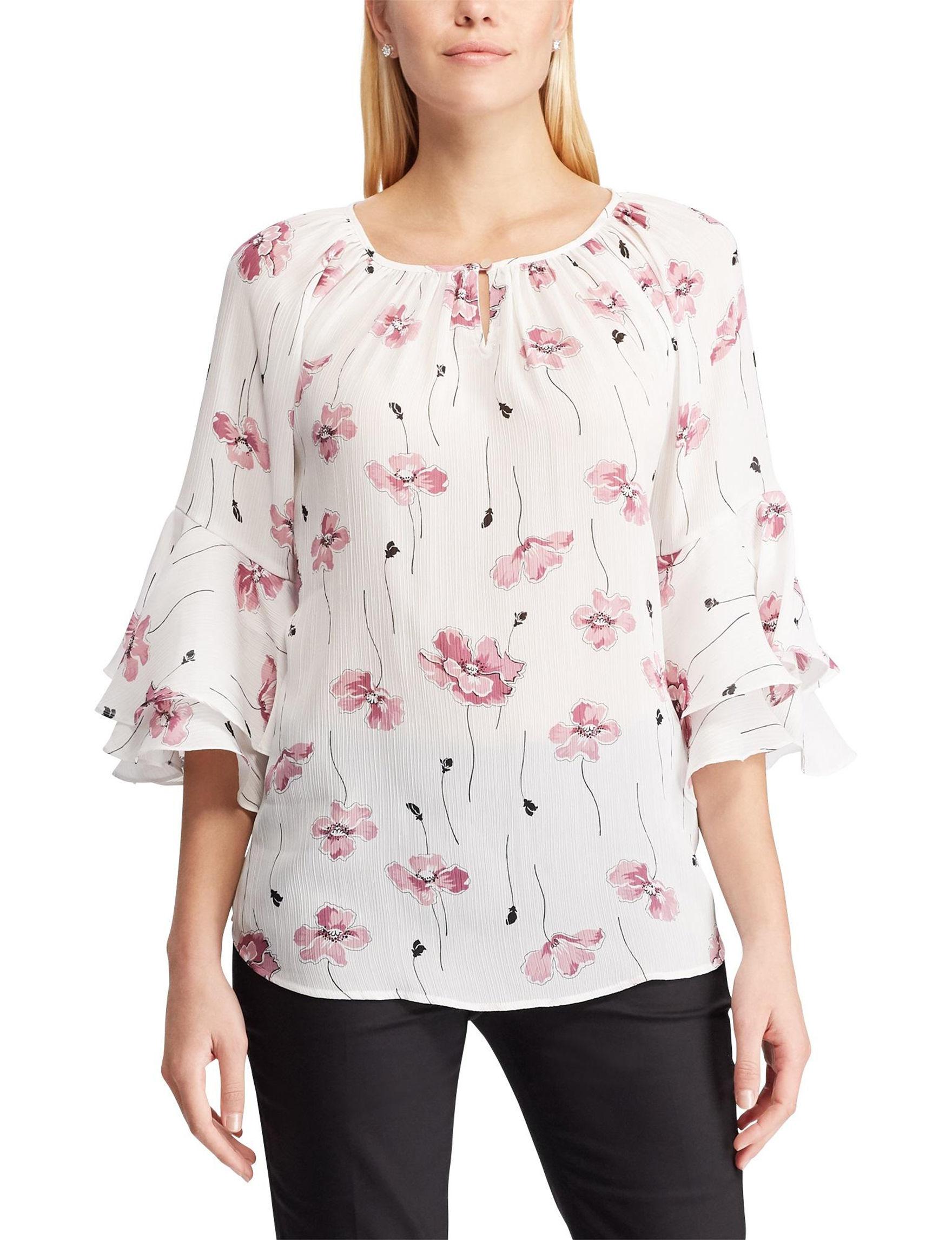 Chaps Beige Floral Shirts & Blouses