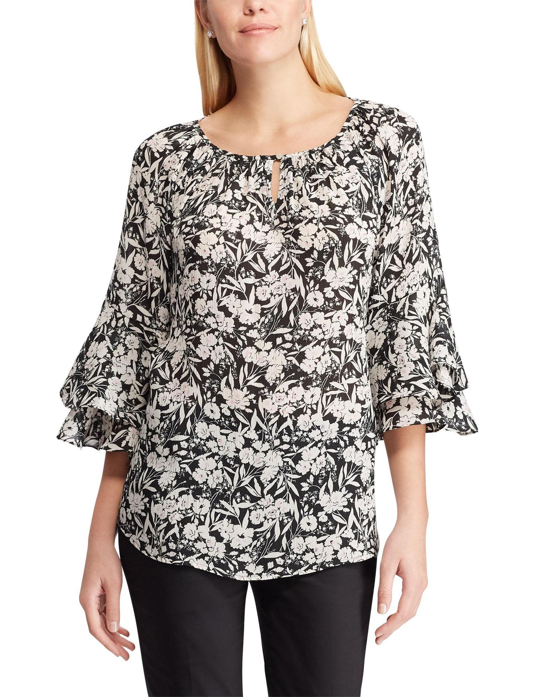 Chaps Black / Beige Shirts & Blouses