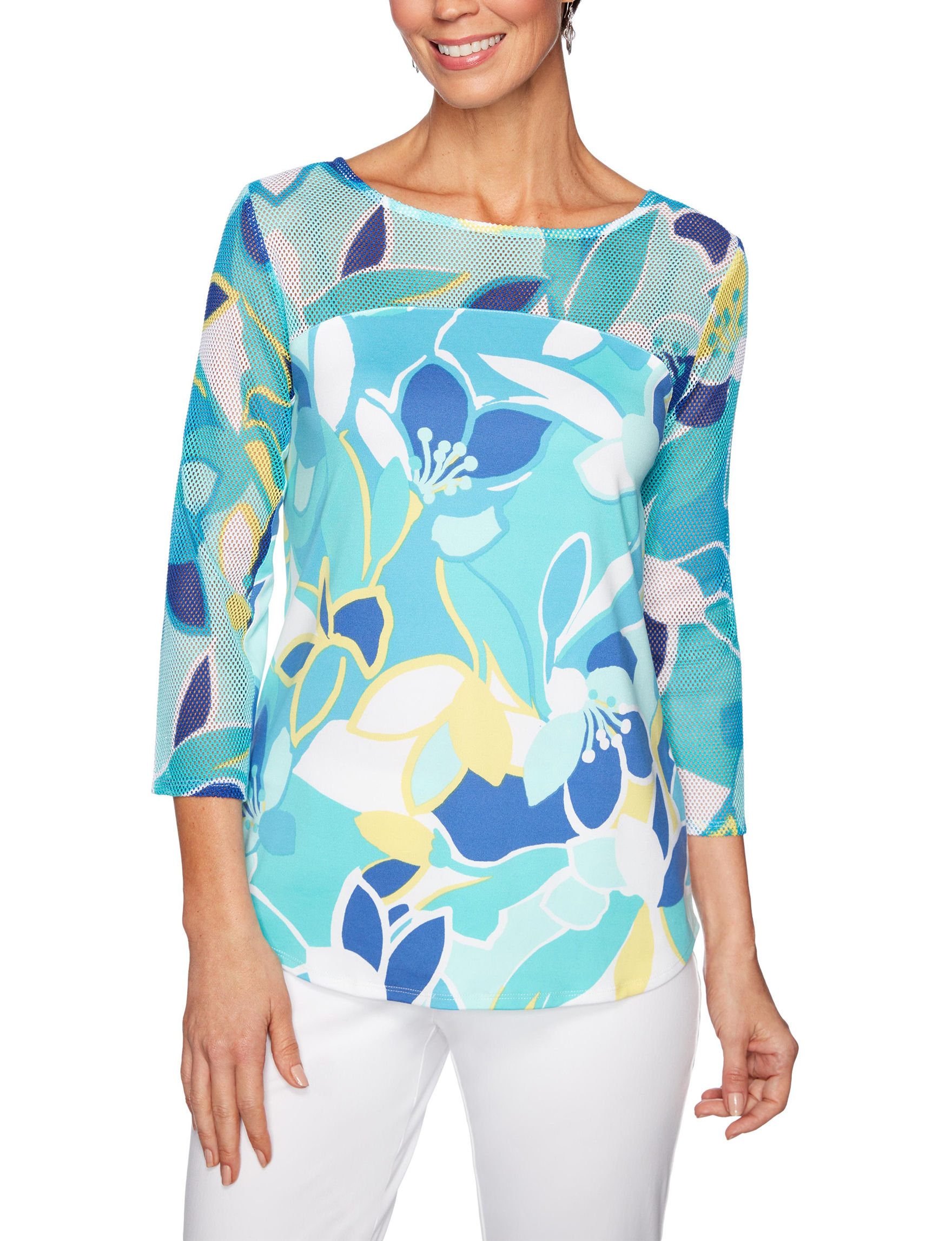 Ruby Road Teal / Multi Shirts & Blouses