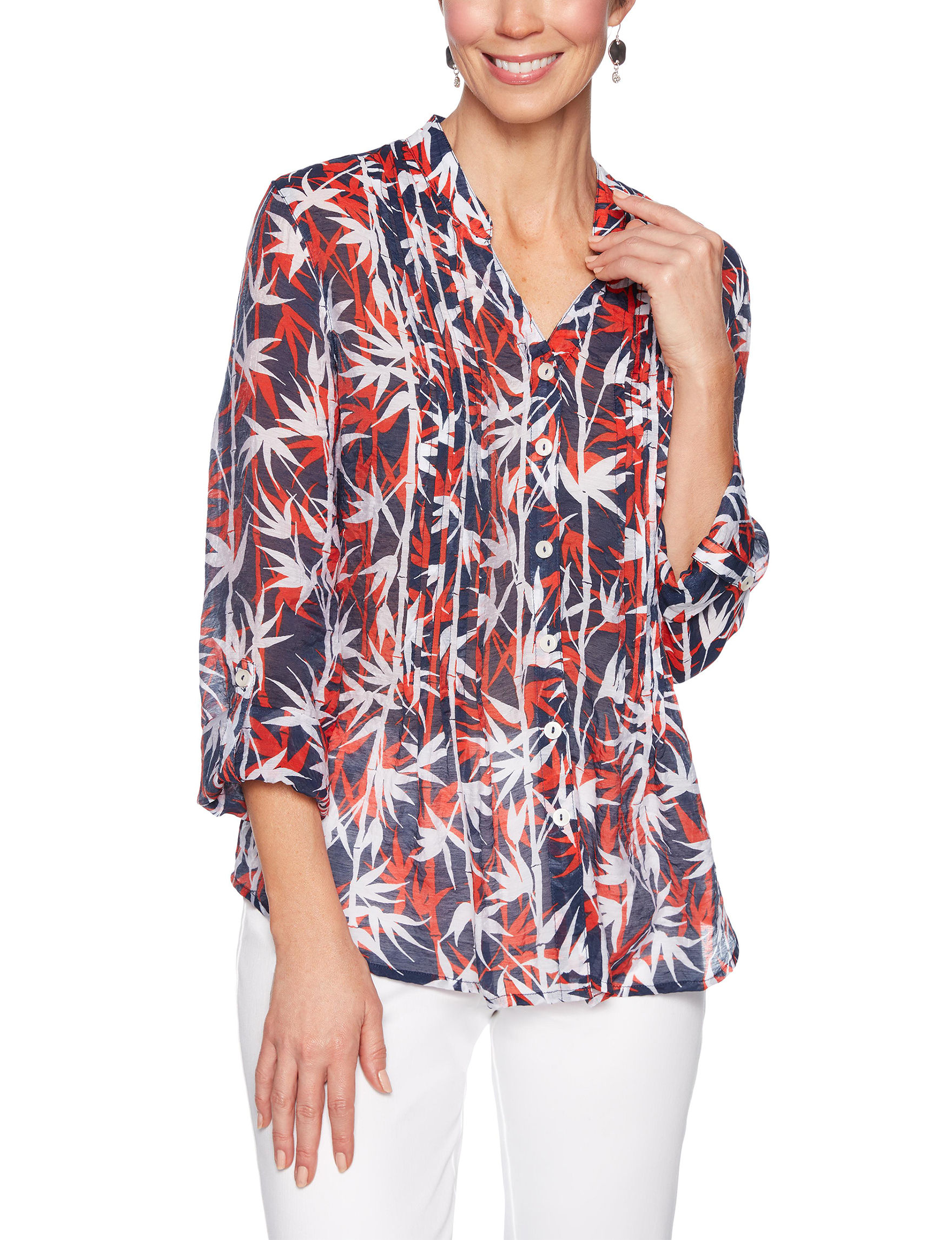 Ruby Road Blue Multi Shirts & Blouses