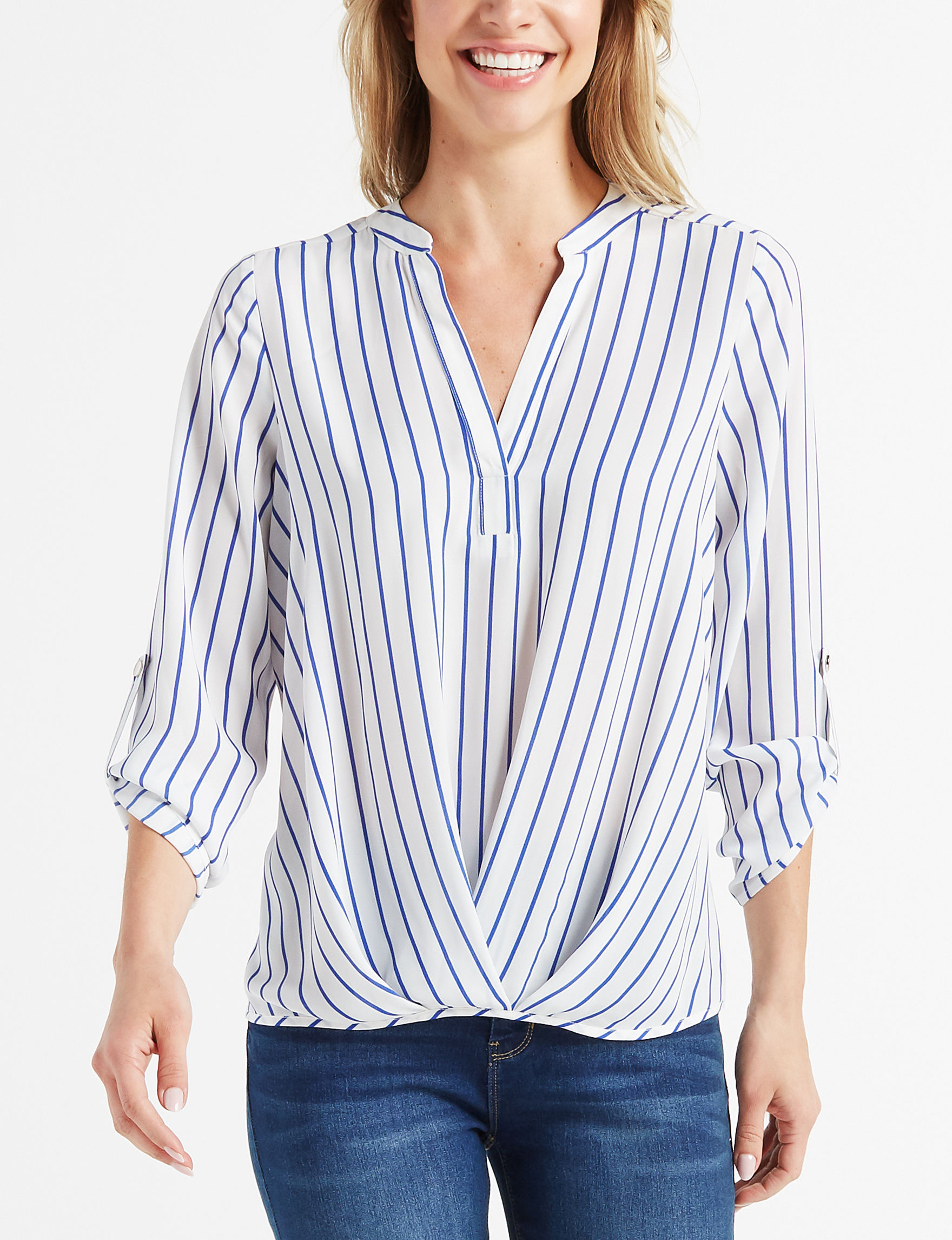 Isela White / Blue Shirts & Blouses