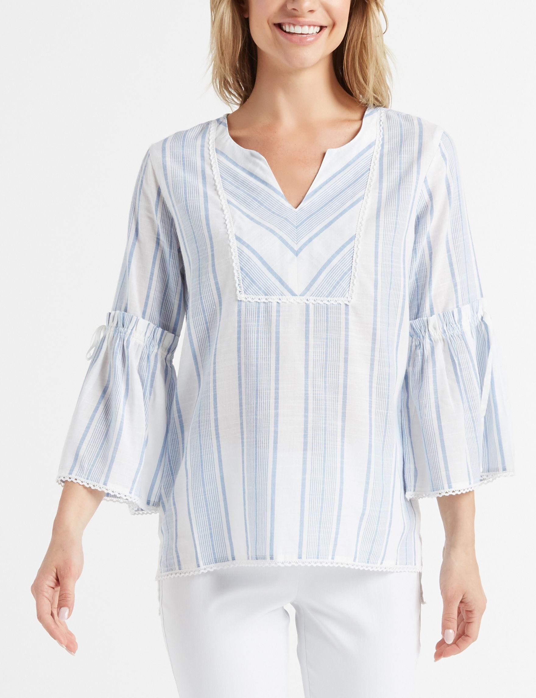 Rebecca Malone Blue / White Shirts & Blouses Tunics