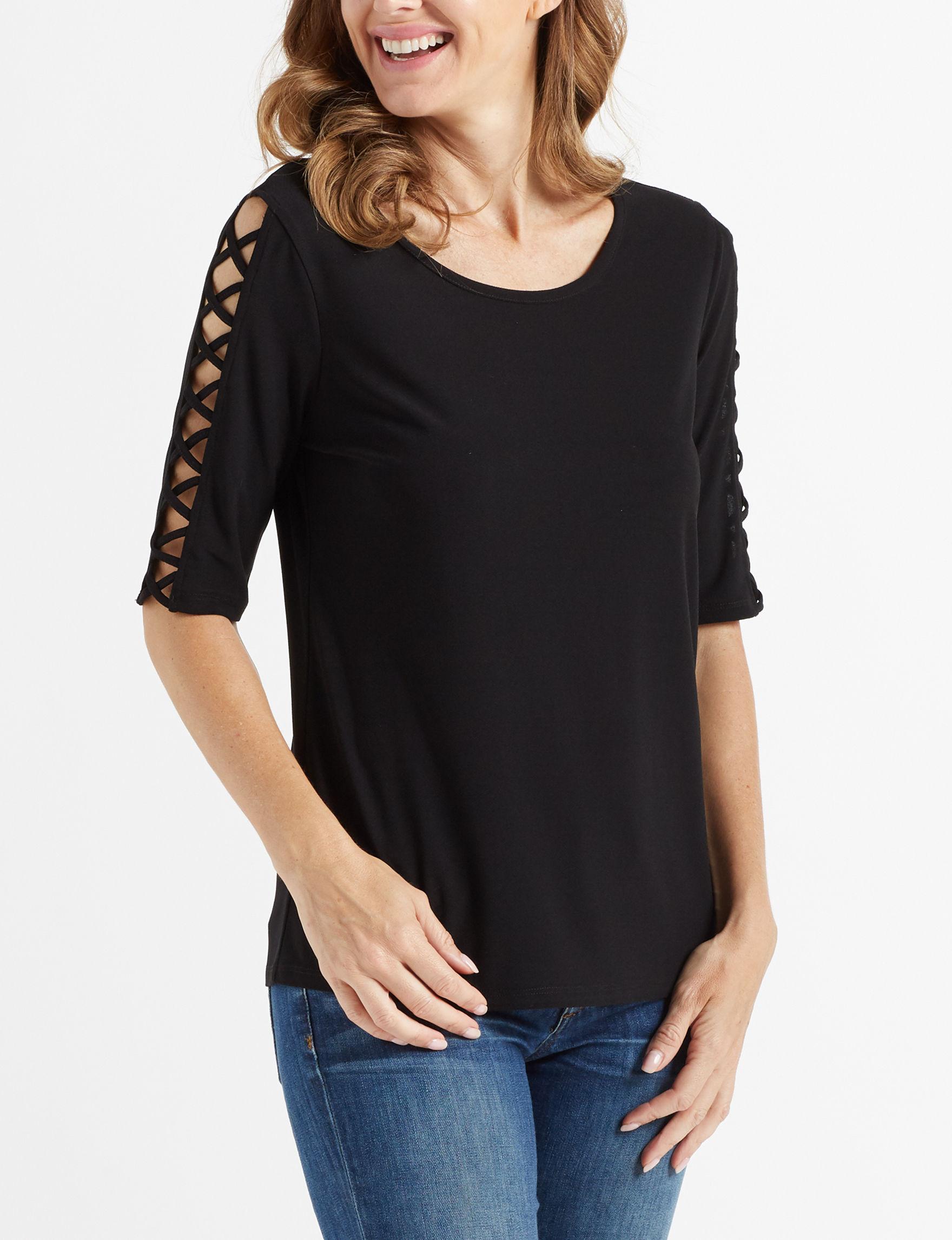 89th & Madison Black Shirts & Blouses