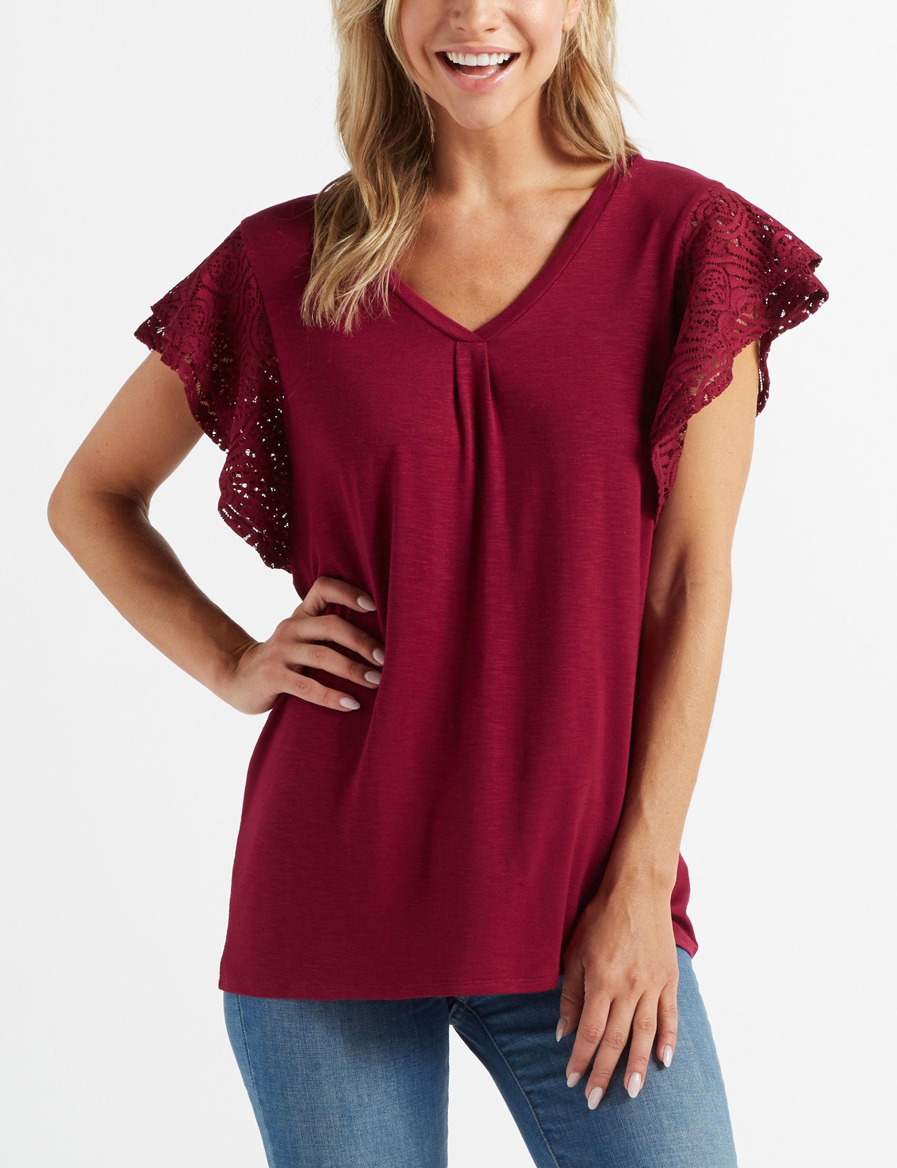 89th & Madison Burgundy Shirts & Blouses