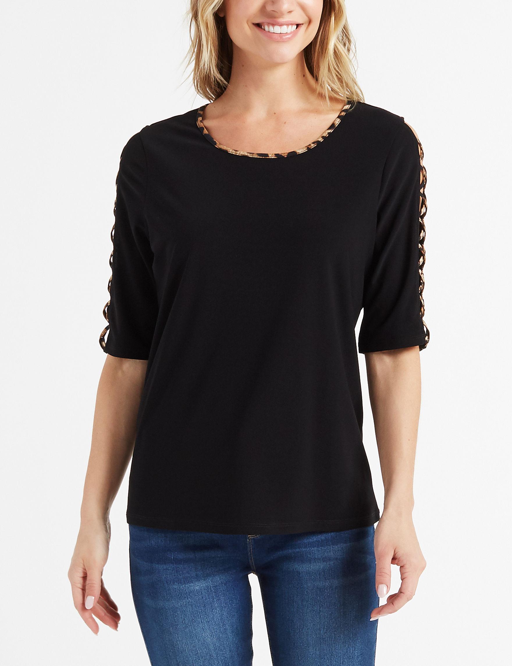 Retrology Black / Cheetah Shirts & Blouses