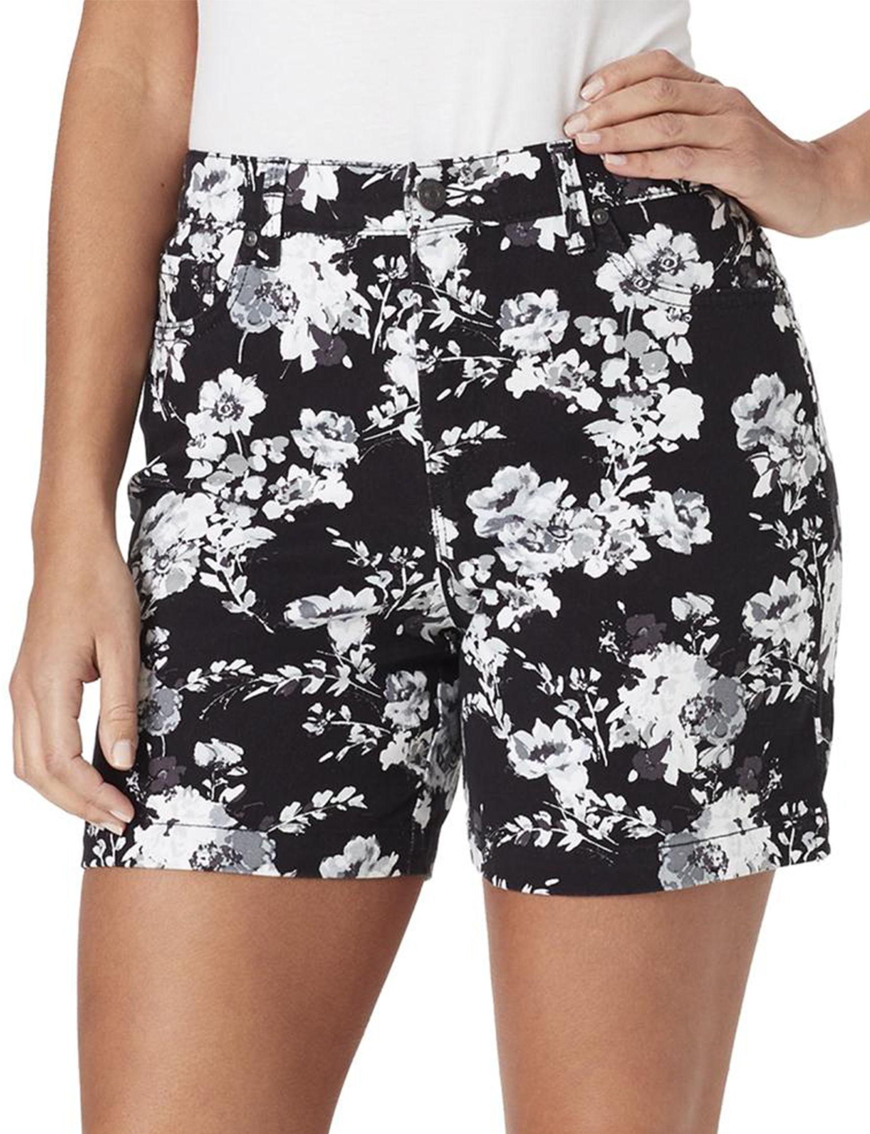 Gloria Vanderbilt Black /  White Tailored Shorts