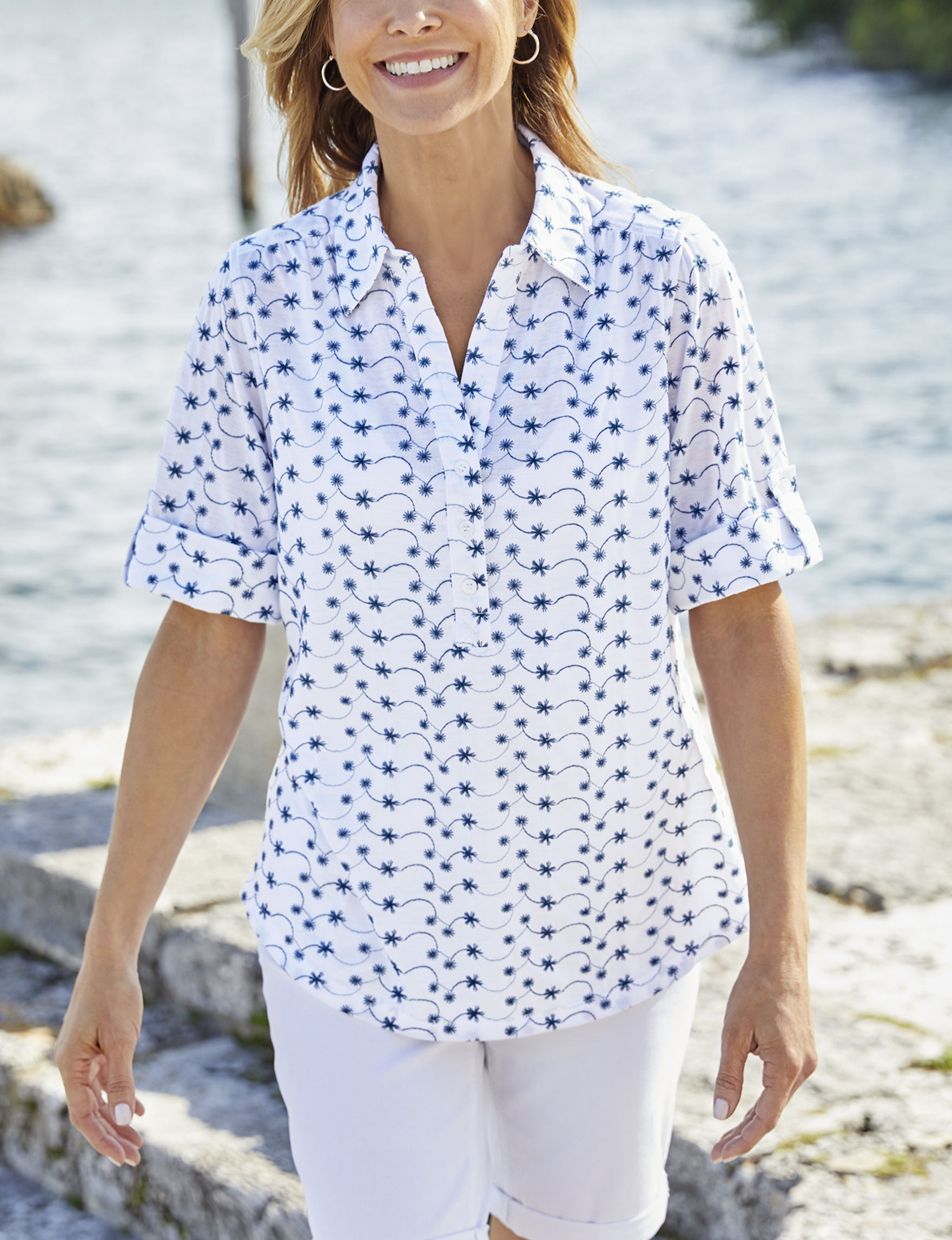 Cathy Daniels White / Navy Shirts & Blouses