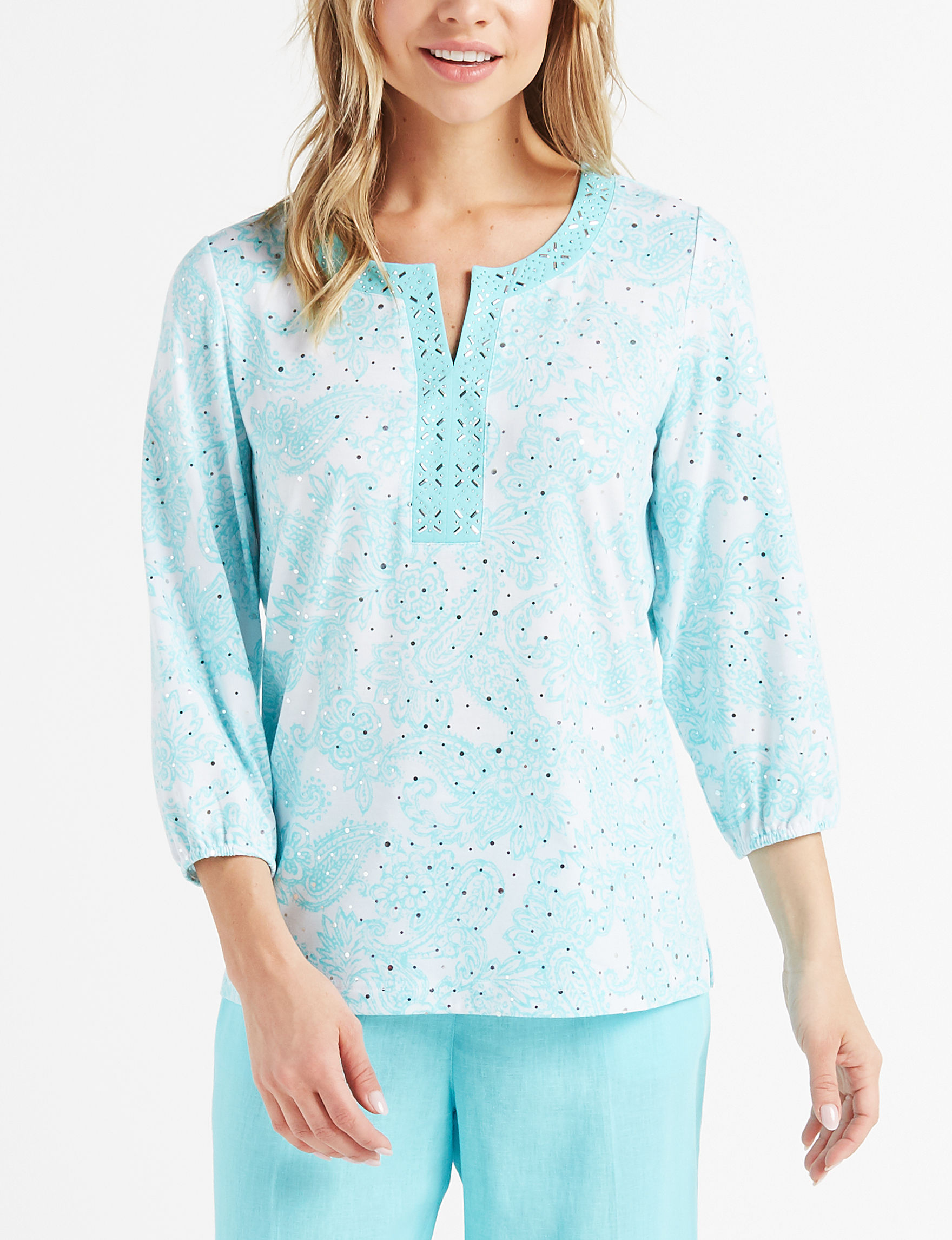 Cathy Daniels White / Blue Shirts & Blouses